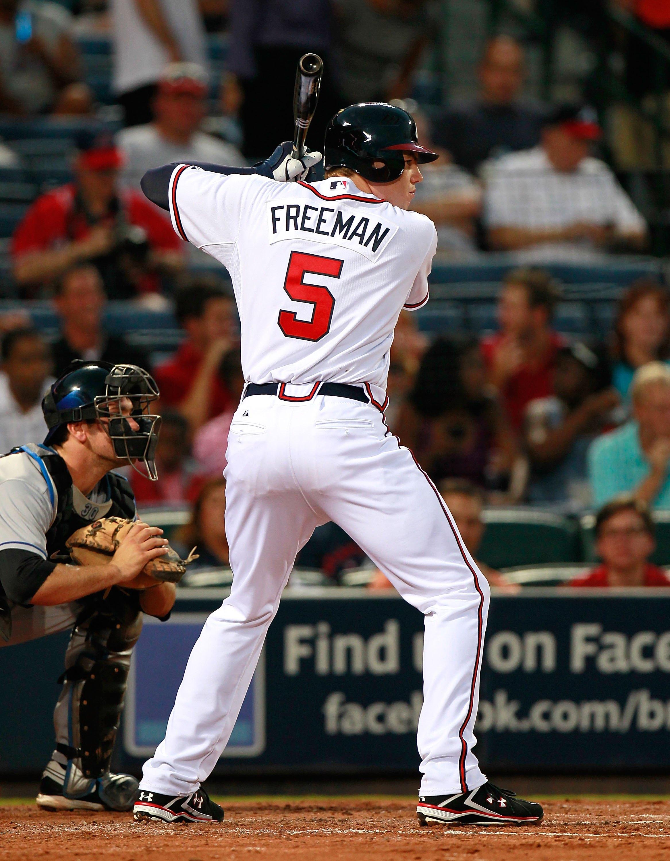 ATLANTA - SEPTEMBER 01:  Freddie Freeman #5 of the Atlanta Braves against the New York Mets at Turner Field on September 1, 2010 in Atlanta, Georgia.  (Photo by Kevin C. Cox/Getty Images)