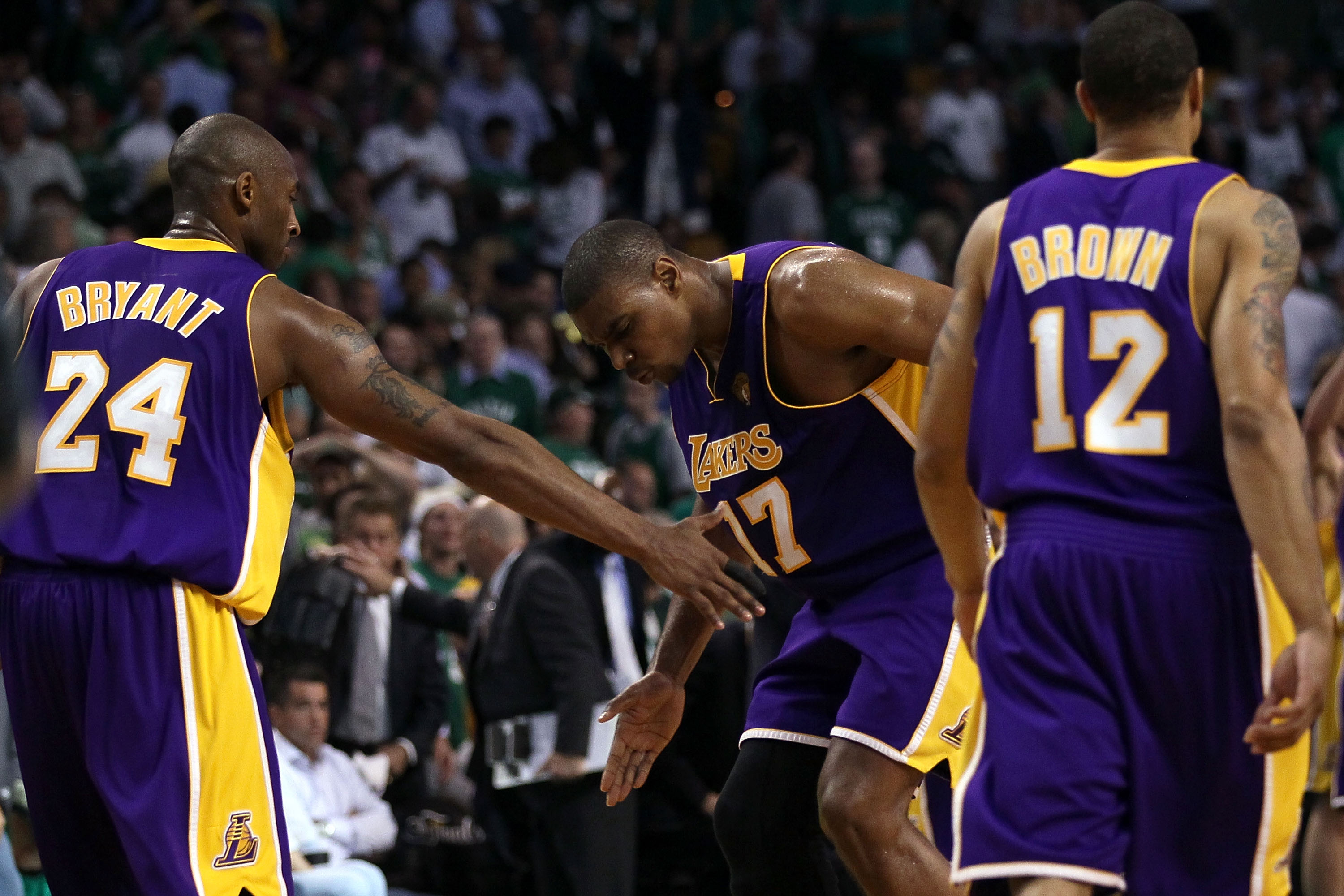 BOSTON - JUNE 08:  Andrew Bynum #17 of the Los Angeles Lakers celebrates a play in the third quarter with teammates Kobe Bryant #24 and Shannon Brown #12 of the Boston Celtics in Game Three of the 2010 NBA Finals on June 8, 2010 at TD Garden in Boston, Ma