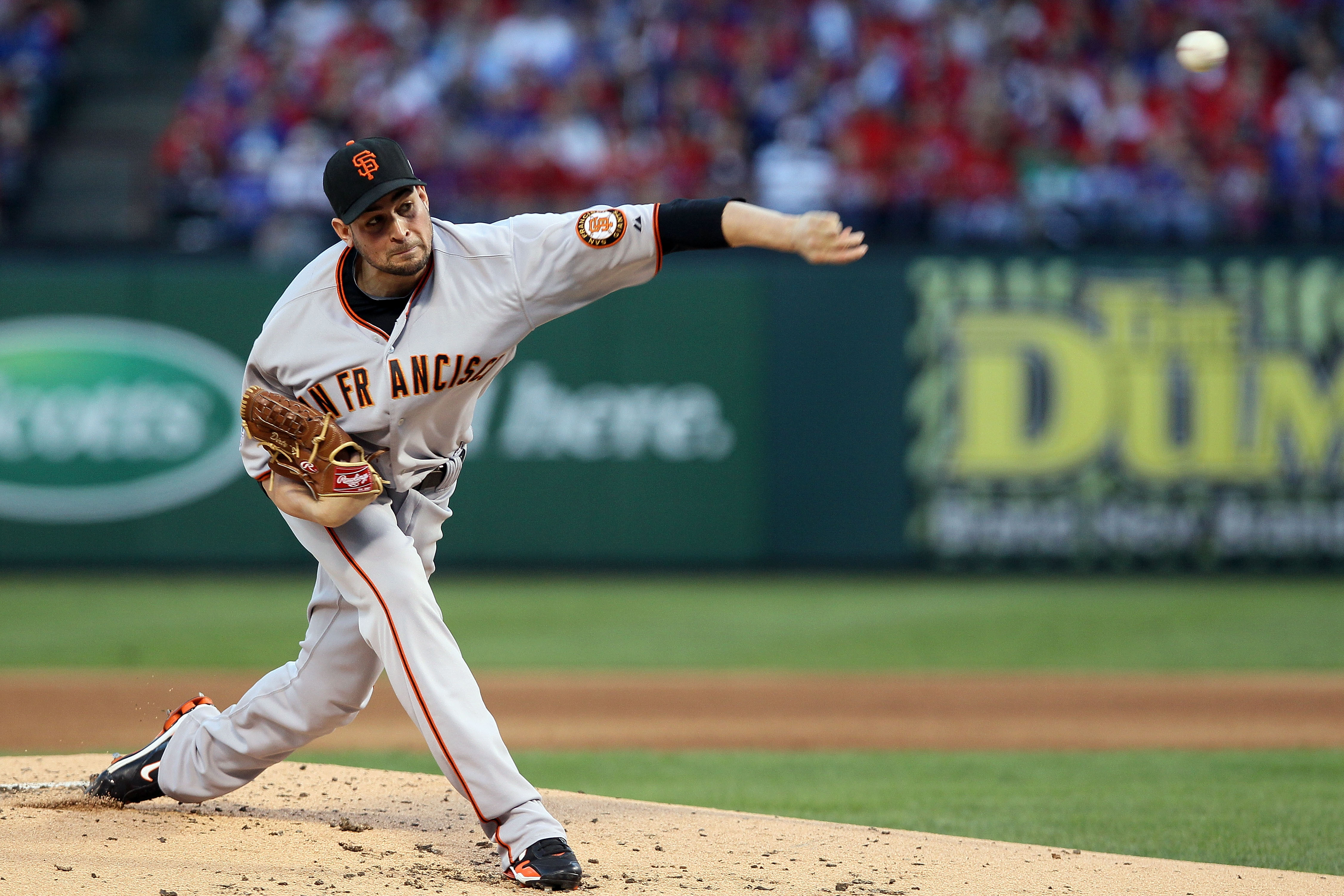 ARLINGTON, TX - OCTOBER 30:  Starting pitcher Jonathan Sanchez #57 of the San Francisco Giants pitches against the Texas Rangers in Game Three of the 2010 MLB World Series at Rangers Ballpark in Arlington on October 30, 2010 in Arlington, Texas.  (Photo b