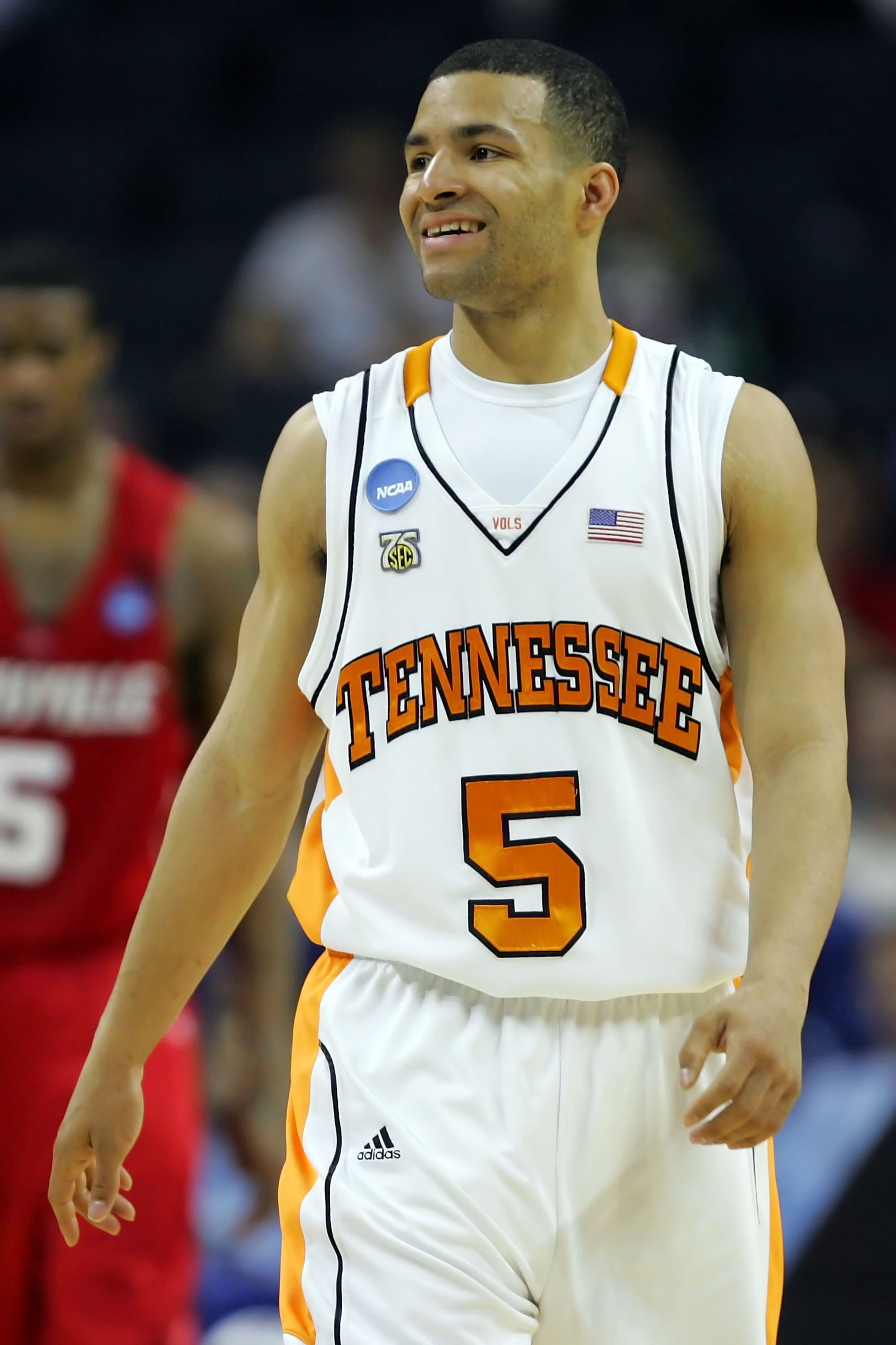 CHARLOTTE, NC - MARCH 27:  Chris Lofton #5 of the Tennessee Volunteers smiles against the Louisville Cardinals during the 2008 NCAA Men's East Regional Semifinal at Bobcats Arena on March 27, 2008 in Charlotte, North Carolina. The Cardinals defeated the V
