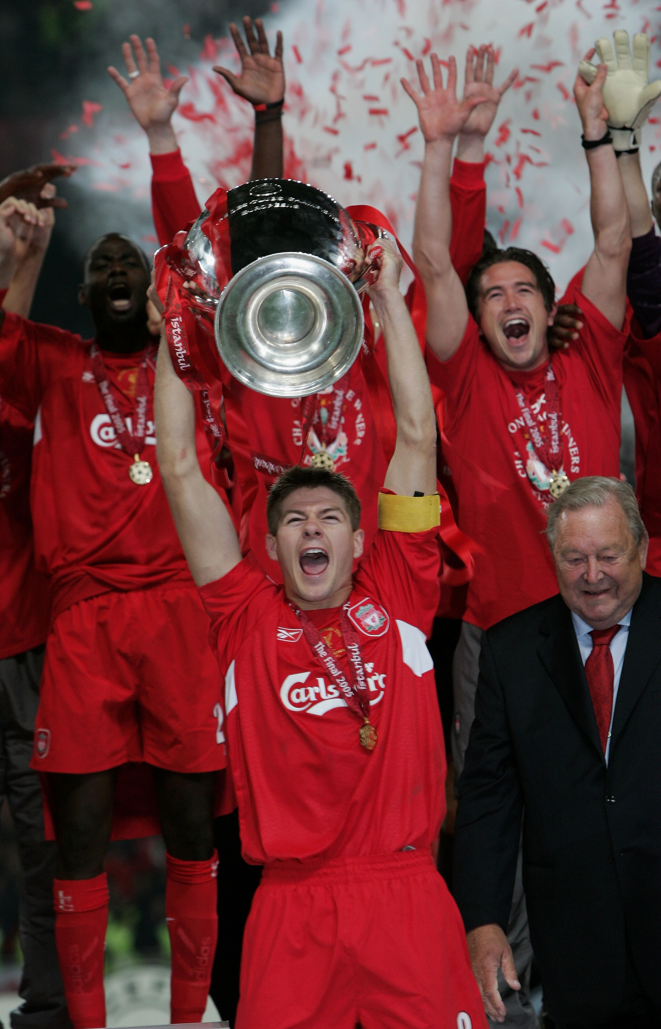 ISTANBUL, TURKEY - MAY 25:  Liverpool captain Steven Gerrard lifts the European Cup after Liverpool won the European Champions League final between Liverpool and AC Milan on May 25, 2005 at the Ataturk Olympic Stadium in Istanbul, Turkey.  (Photo by Clive