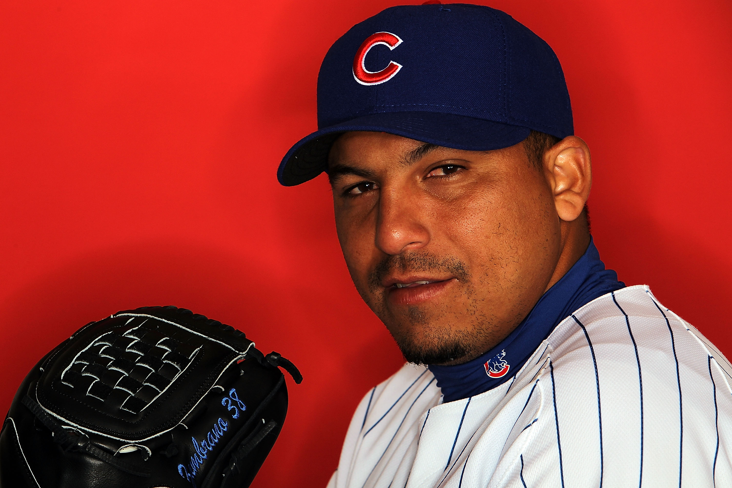 MESA, AZ - MARCH 01:  Carlos Zambrano of the Chicago Cubs poses for a photo during Spring Training Media Photo Day at Fitch Park on March 1, 2010 in Mesa, Arizona.  (Photo by Ronald Martinez/Getty Images)