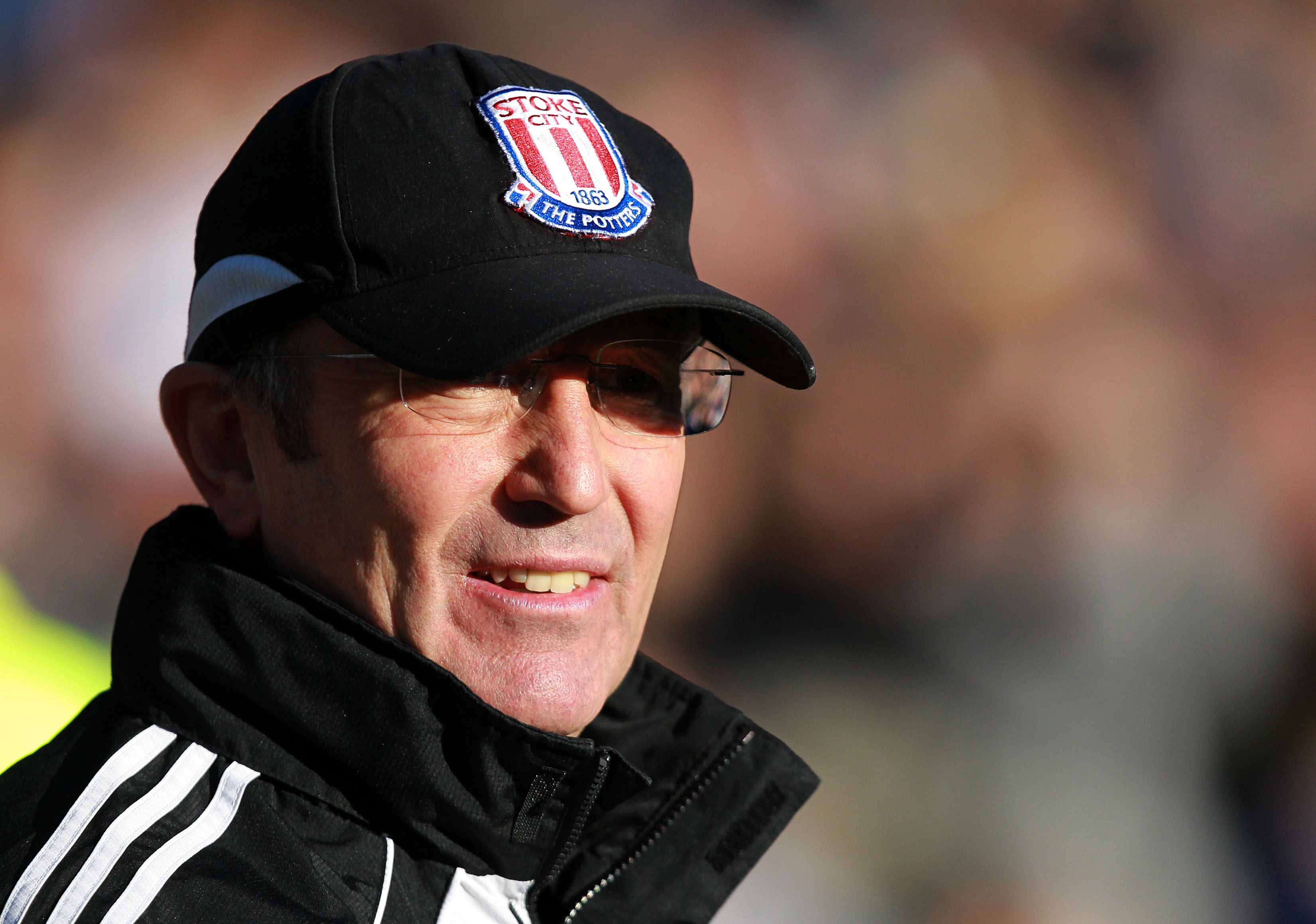 BIRMINGHAM, ENGLAND - FEBRUARY 12 :   Tony Pulis, Manager of Stoke City looks on prior to kick off during the Barclays Premier League match between Birmingham City and Stoke City at St Andrews on February 12, 2011 in Birmingham, England.  (Photo by Jan Kr