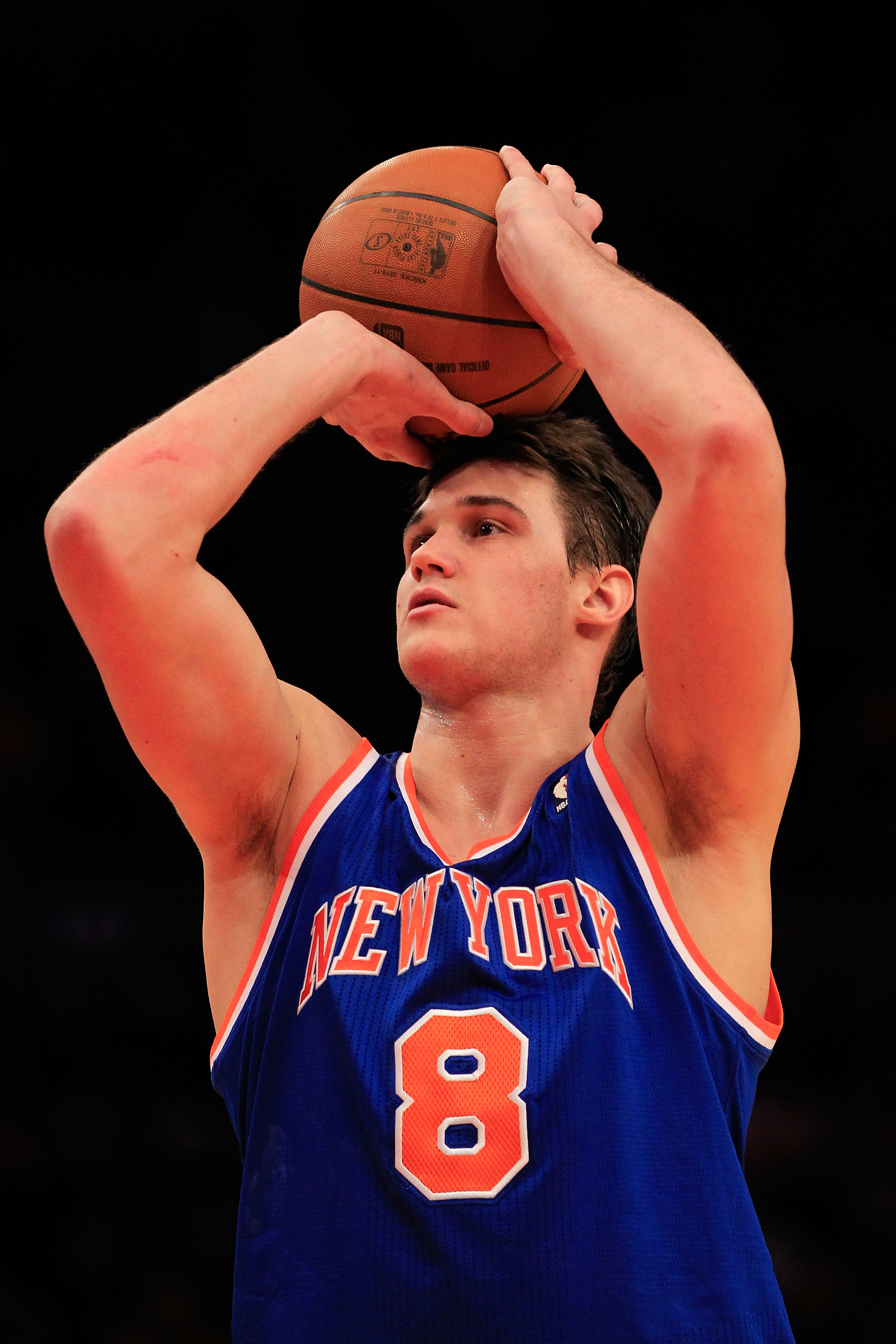 NEW YORK, NY - FEBRUARY 11: Danilo Gallinari #8 of the New York Knicks shoots a free throw against the Los Angeles Lakers at Madison Square Garden on February 11, 2011 in New York City. NOTE TO USER: User expressly acknowledges and agrees that, by downloa
