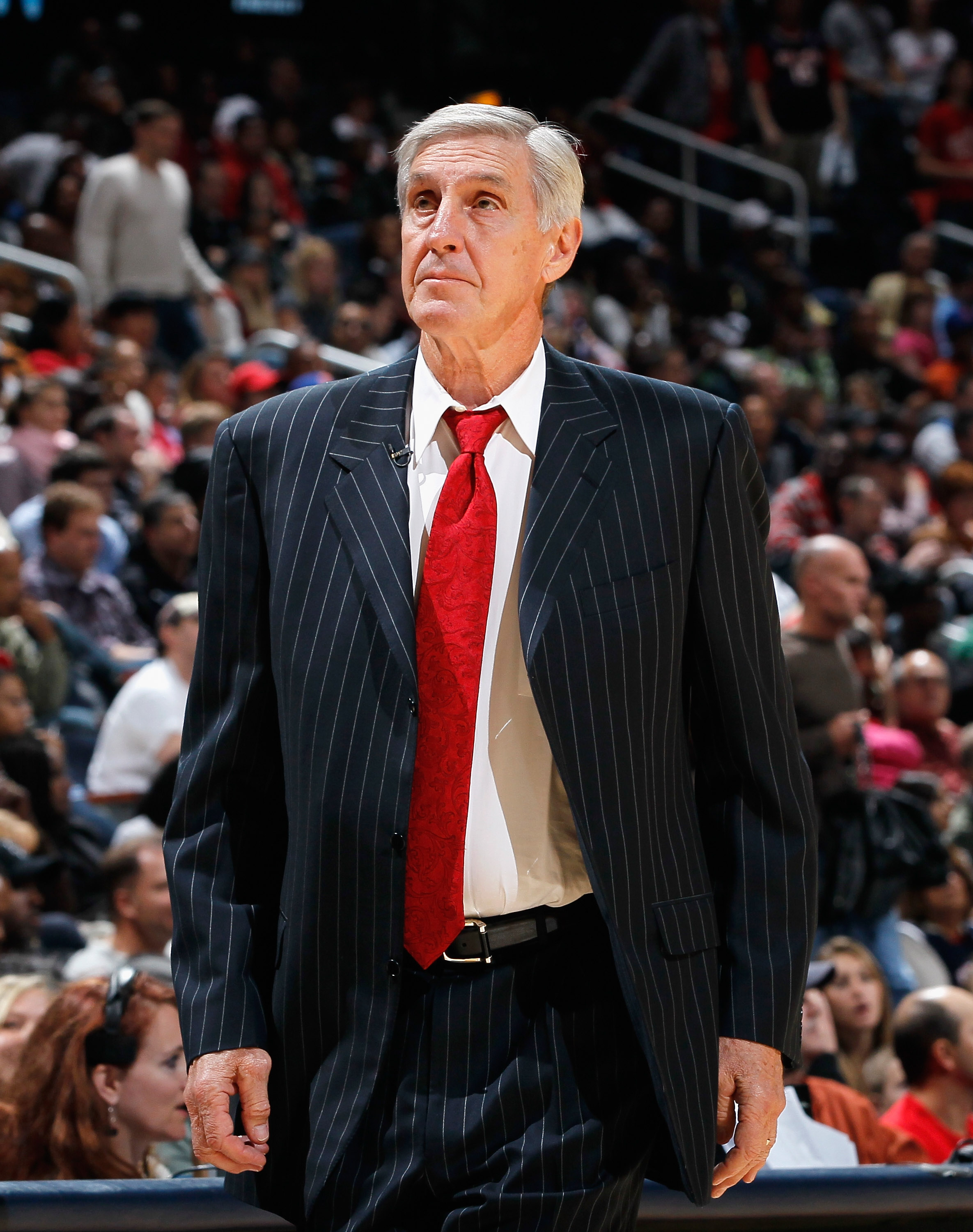 ATLANTA - NOVEMBER 12:  Head coach Jerry Sloan of the Utah Jazz against the Atlanta Hawks at Philips Arena on November 12, 2010 in Atlanta, Georgia.  NOTE TO USER: User expressly acknowledges and agrees that, by downloading and/or using this Photograph, U