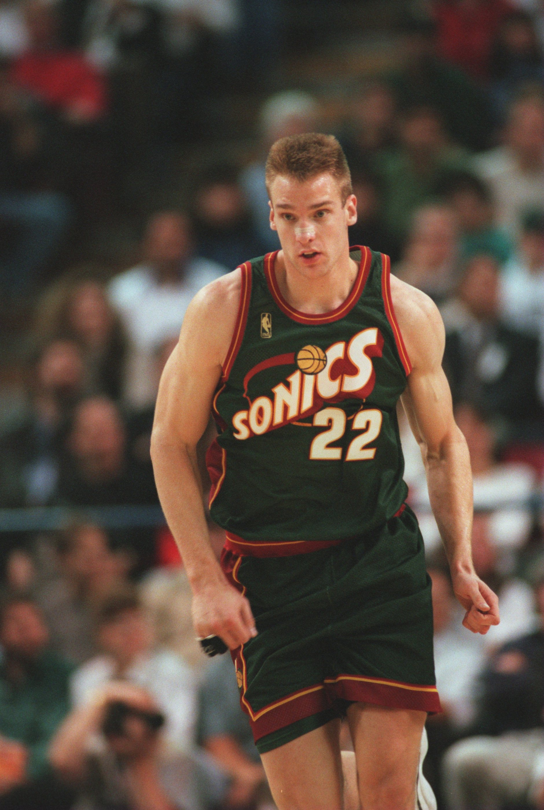 11 Nov 1996:  Jim McIlvaine of the Seattle Supersonics runs up the court during their 110-94 victory over the Sacramento Kings at Arco Arena in Sacramento, California. Mandatory Credit: Otto Greule/Allsport