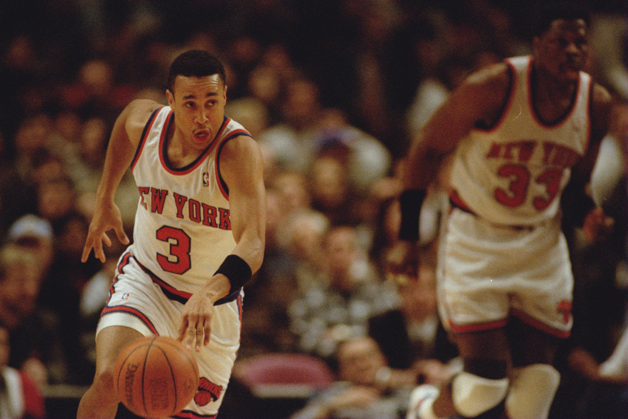 21 FEB 1995:  JOHN STARKS OF THE NEW YORK KNICKS CHARGES FOR THE BASKET AGAINST THE CLEVELAND CAVALIERS DURING THE FIRST HALF THEIR CLASH AT MADISON SQUARE GARDEN, NEW YORK. Mandatory Credit: Doug Pensinger/ALLSPORT