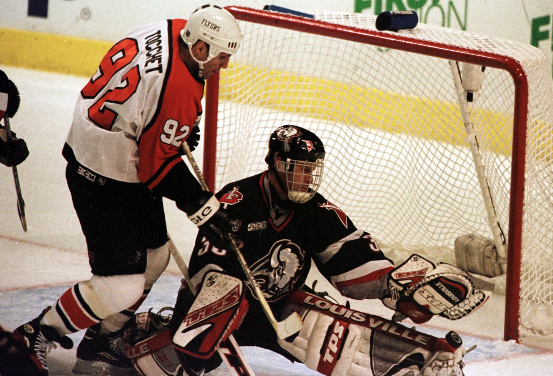 14 Apr 2000: Goalie Dominik Hasek #39 of the Buffalo Sabres blocks a shot by Flyers RIck Tocchet #92 of the Philadelphia Flyers during game two of the NHL Eastern Conference Quarterfinals between the Buffalo Sabres and the Philadelphia Flyers at the First