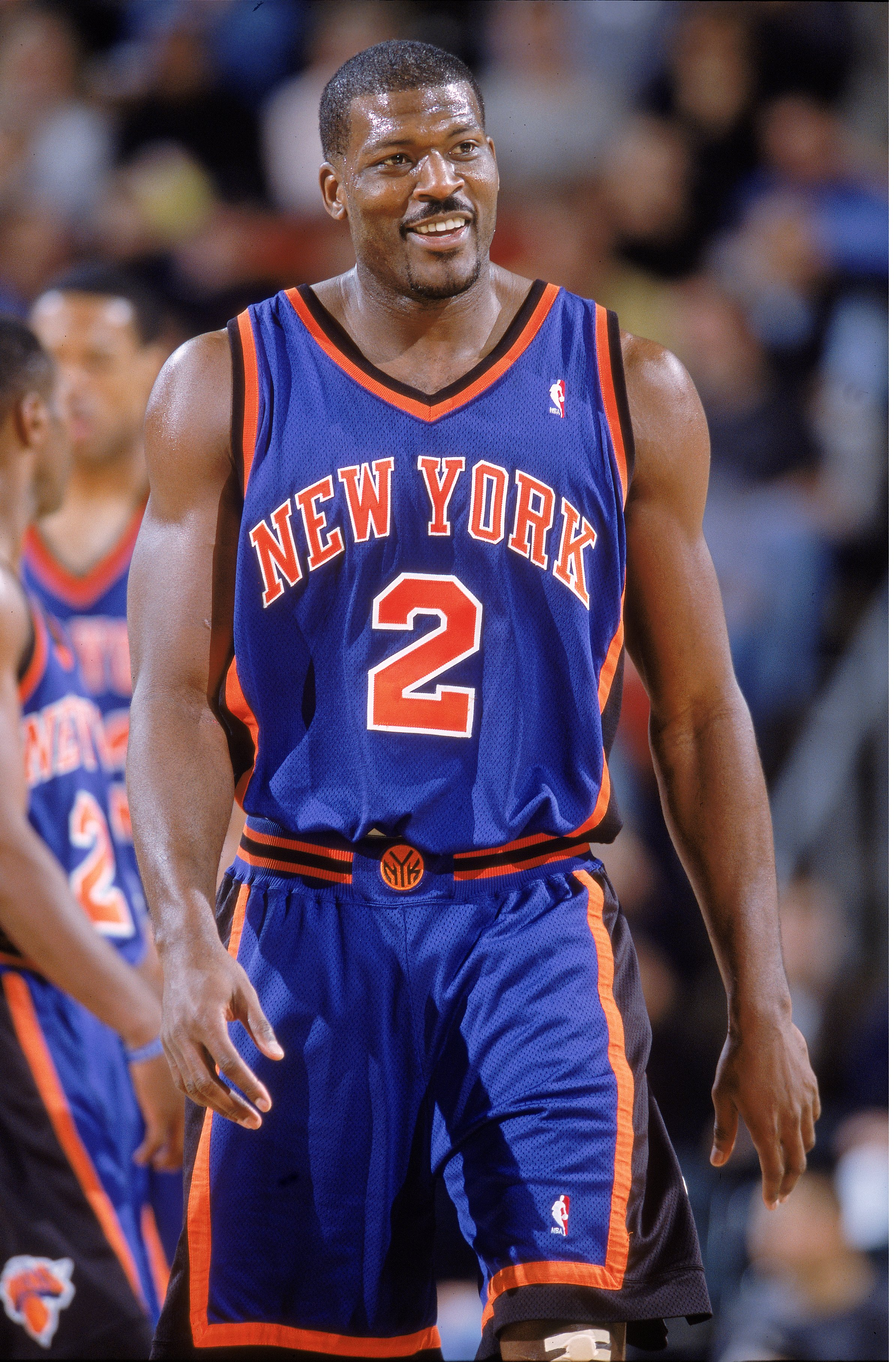 14 Nov 2000:  Larry Johnson #2# of the New York Knicks walks out on the court during the game against the Seattle SuperSonics at Key Arena in Seattle, Washington.  The SuperSonics defeated the Knicks 96-75.   NOTE TO USER: It is expressly understood that