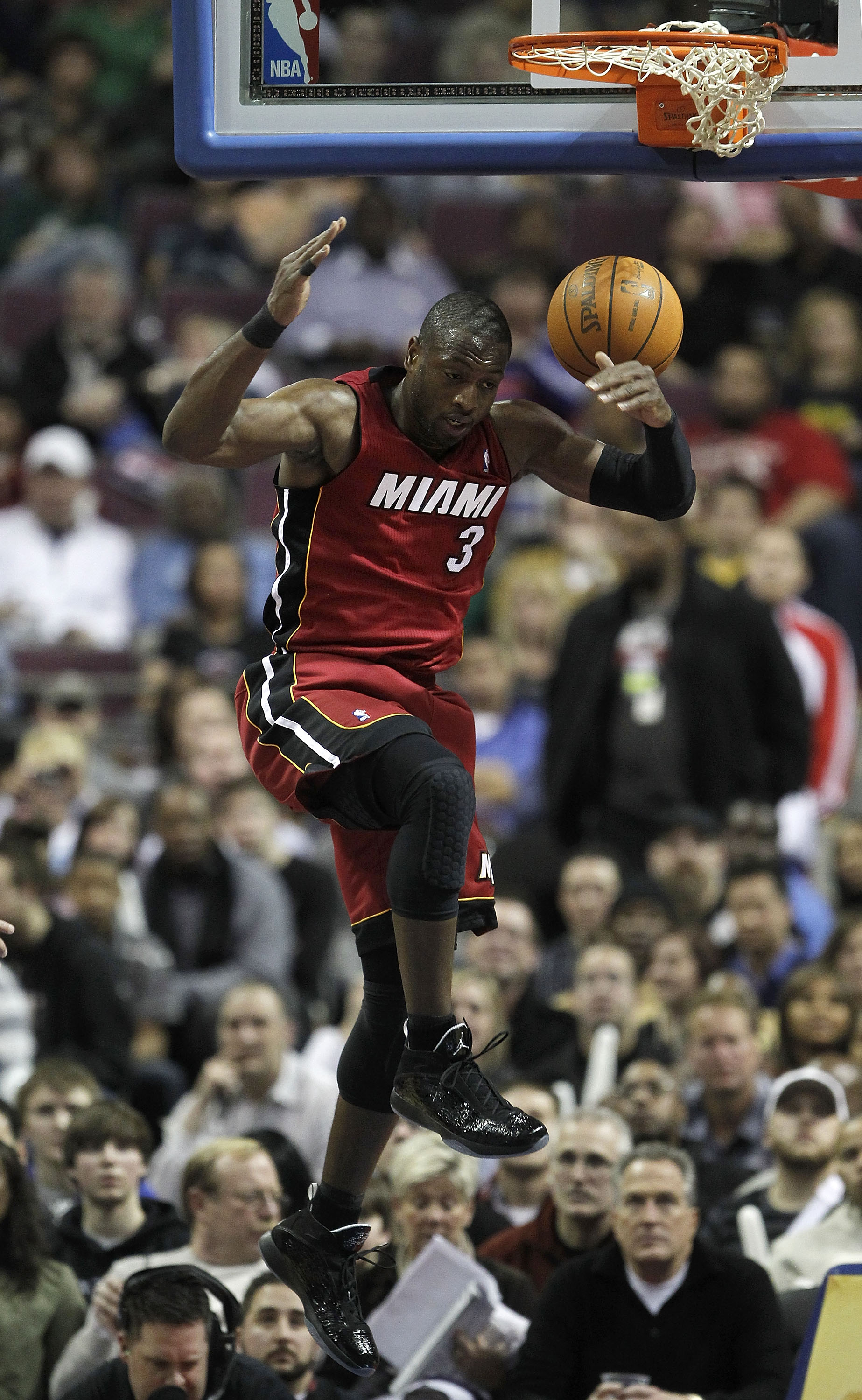 AUBURN HILLS, MI - FEBRUARY 11:  Dwyane Wade #3 of the Miami Heat gets in for a dunk while playing the Detroit Pistons at The Palace of Auburn Hills on February 11, 2011 in Auburn Hills, Michigan. Miami won the game 106-92. NOTE TO USER: User expressly ac