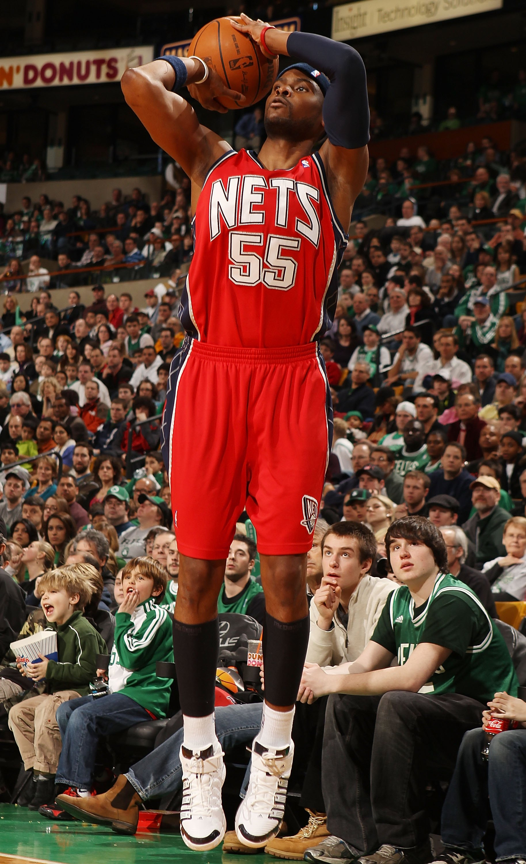 BOSTON - FEBRUARY 27:  Keyon Dooling #55 of the New Jersey Nets takes a shot in the second half against the Boston Celtics at the TD Garden on February 27, 2010 in Boston, Massachusetts. The Nets defeated the Celtics 104-96.  NOTE TO USER: User expressly