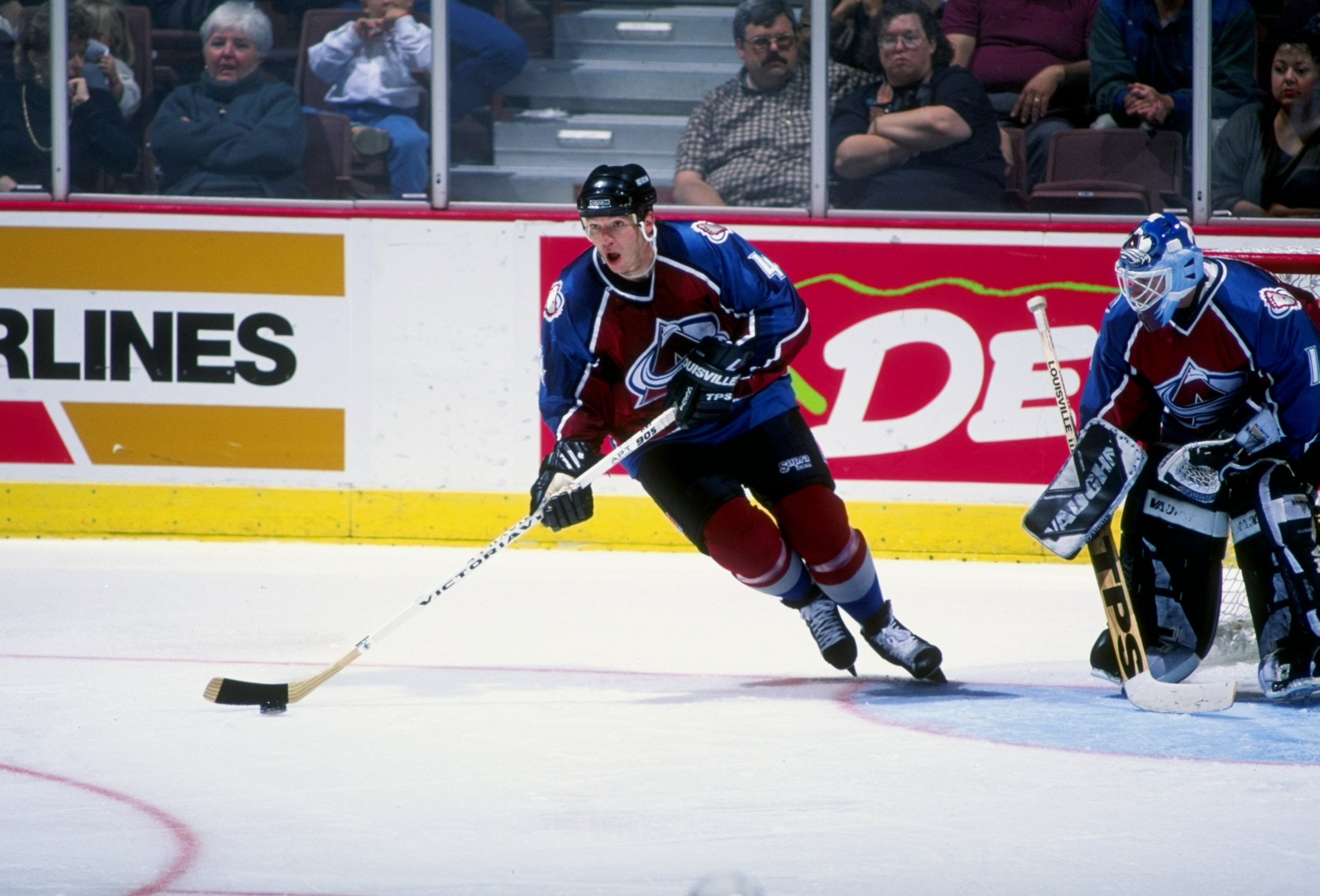 3 Nov 1996:  Defenseman Uwe Krupp of the Colorado Avalanche in action during a game against the Anaheim Mighty Ducks at Arrowhead Pond in Anaheim, California.  The teams tied at 1-1. Mandatory Credit: Glenn Cratty  /Allsport