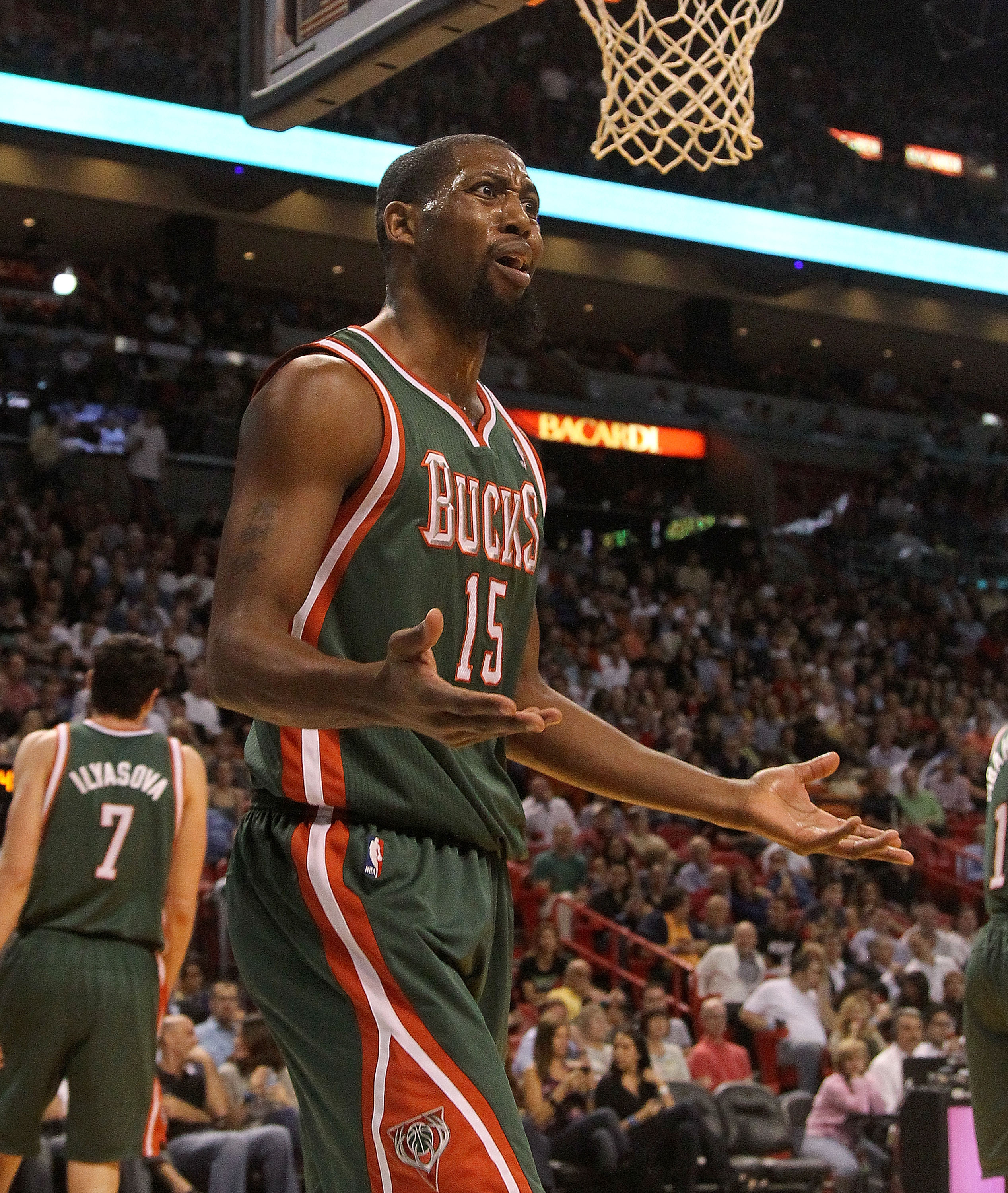 MIAMI, FL - JANUARY 04: John Salmons #15 of the Milwaukee Bucks argues with the officials during a game against the Miami Heat at American Airlines Arena on January 4, 2011 in Miami, Florida. NOTE TO USER: User expressly acknowledges and agrees that, by d