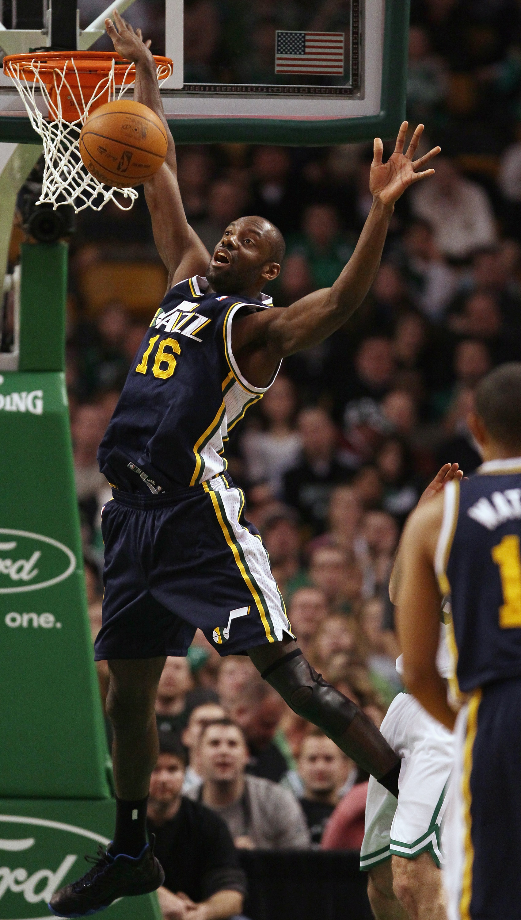 BOSTON, MA - JANUARY 21:  Francisco Elson # 16 of the Utah Jazz loses control of the ball in the second half against the Boston Celtics on January 21, 2011 at the TD Garden in Boston, Massachusetts.  The Celtics defeated the Jazz 110-86. NOTE TO USER: Use