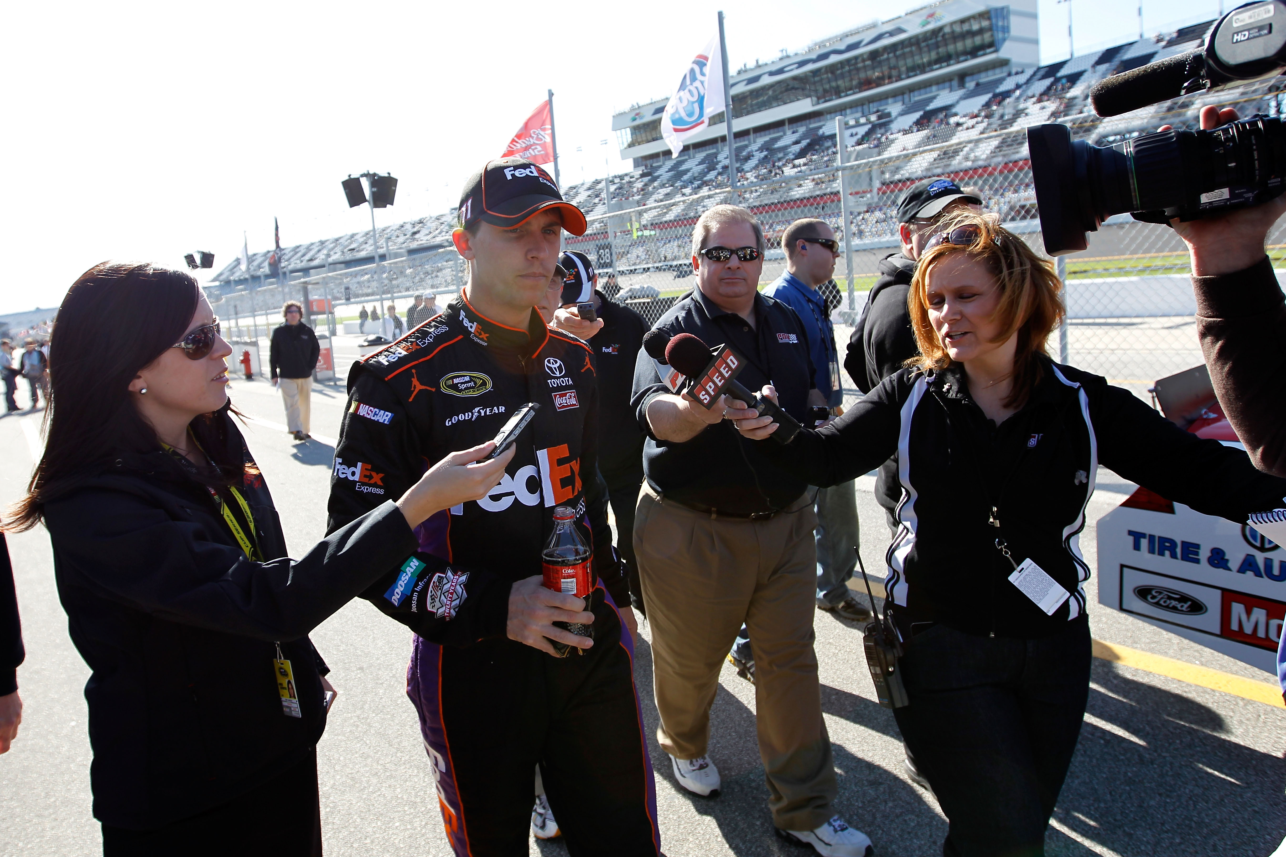 Denny Hamlin was robbed of the win Saturday night but will be a solid favorite Sunday.
