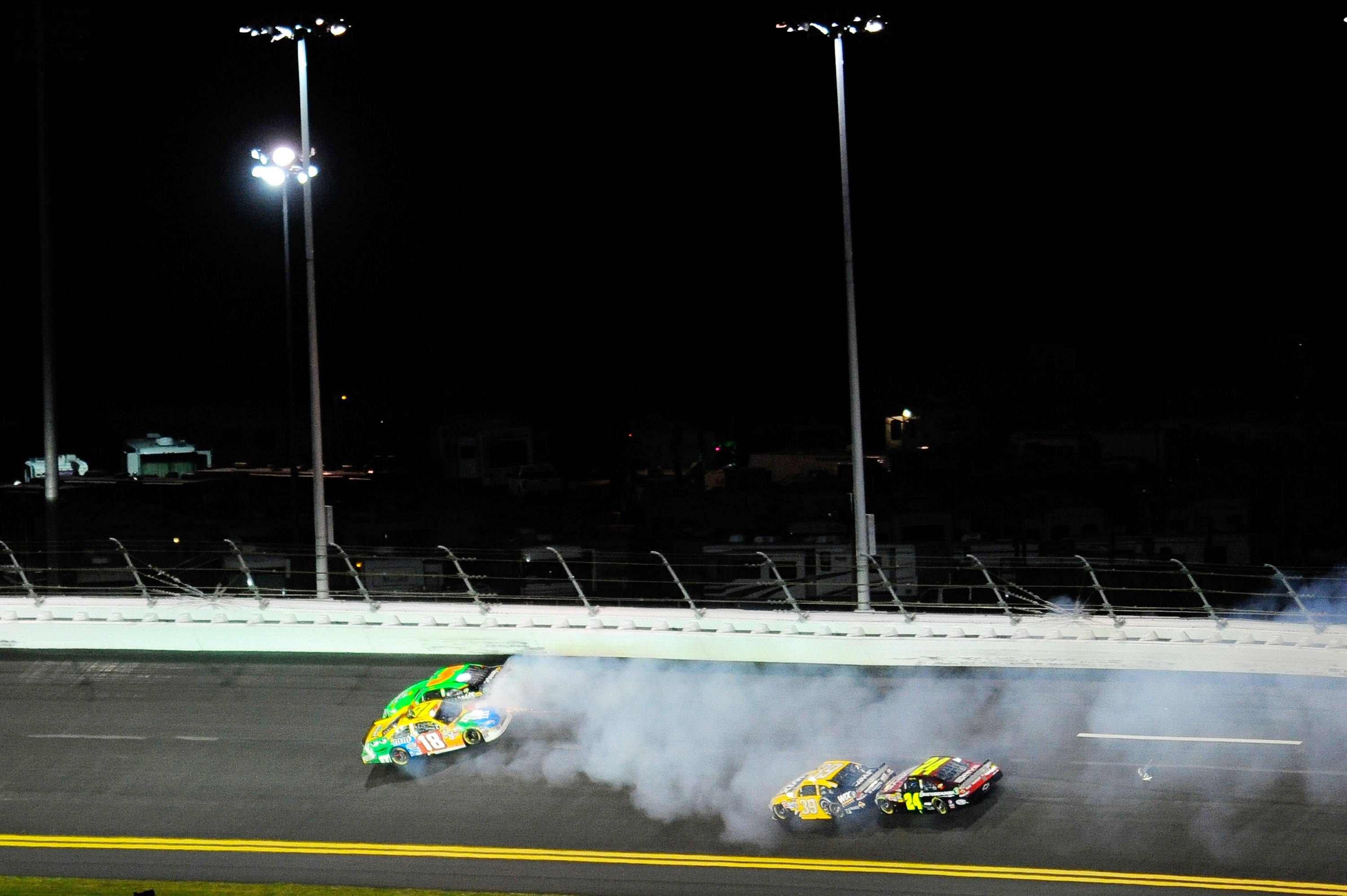 Kyle Busch met his demise with Mark Martin as they failed bump drafting in the turn at Daytona.
