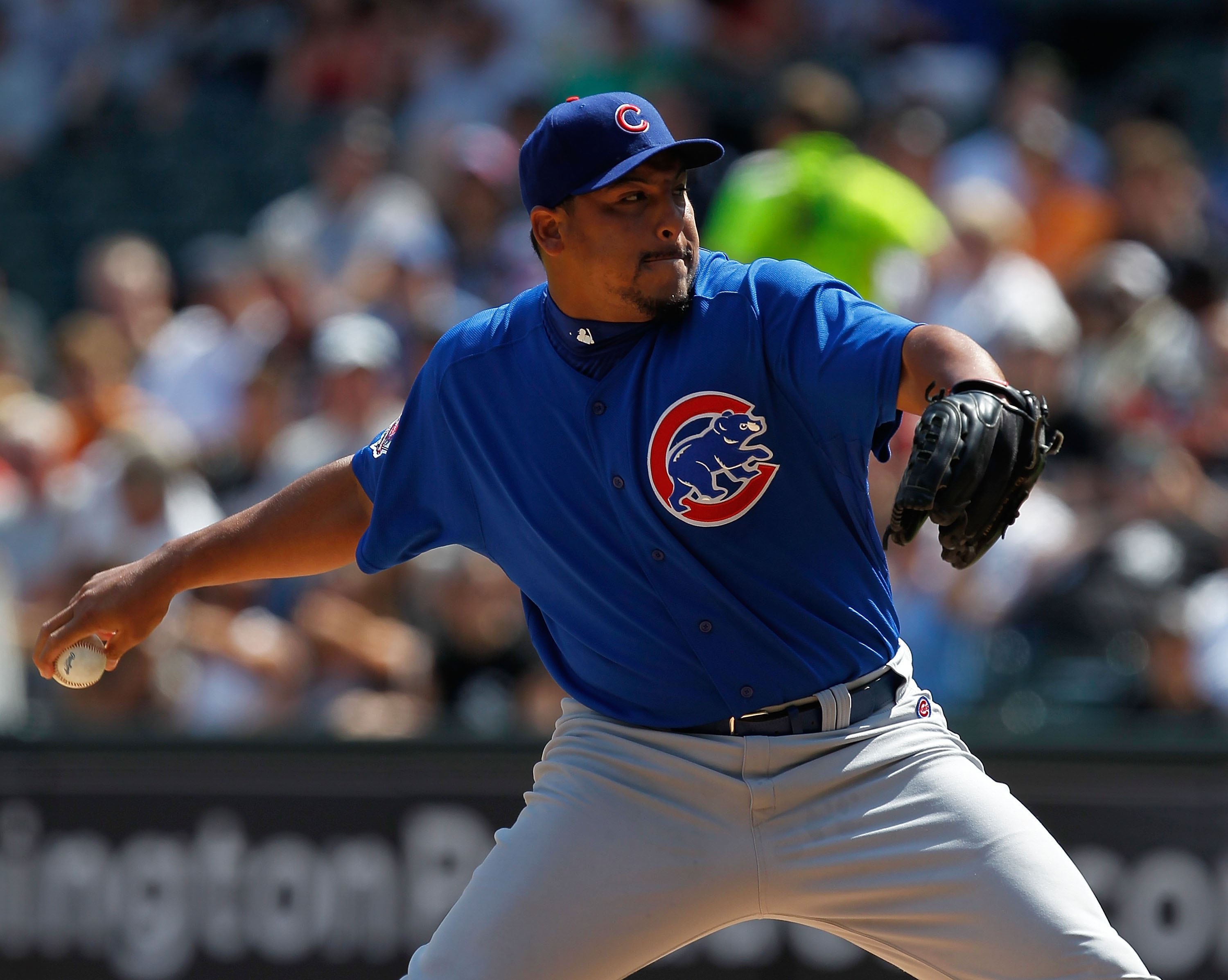 CHICAGO - JUNE 25: Starting pitcher Carlos Zambrano #38 of the Chicago Cubs throws the ball in the 1st inning to Carlos Quentin of the Chicago White Sox at U.S. Cellular Field on June 25, 2010 in Chicago, Illinois. Zambrano was suspended indefinitely by t