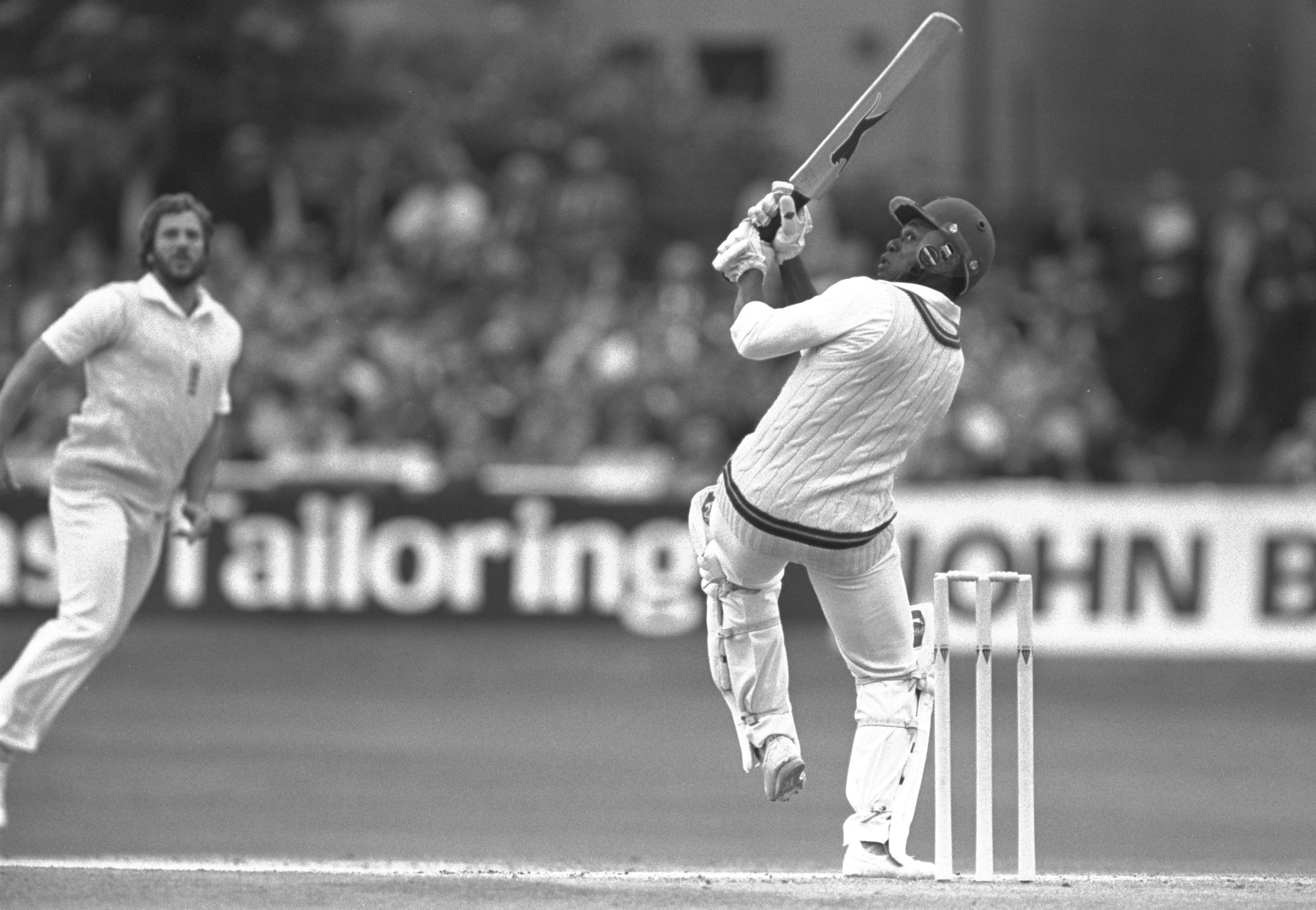 Jul 1980:  Desmond Haynes of the West Indies hits Ian Botham for four during the fifth test at Headingley in Leeds.                           Mandatory Credit: Adrian Murrell/Allsport