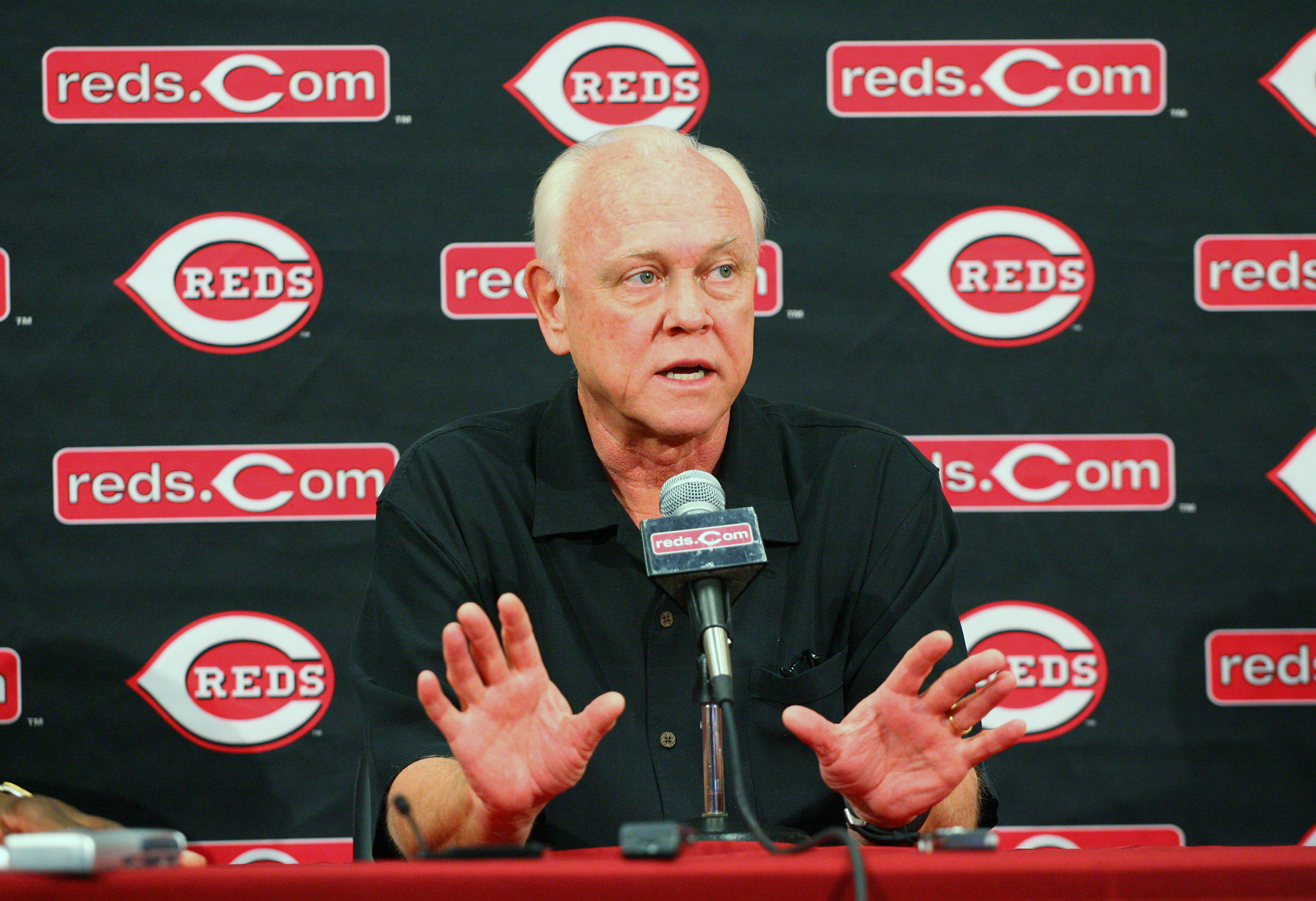 GOODYEAR, AZ - FEBRUARY 22: President and General Manager Walt Jocketty of the Cincinnati Reds speaks with the media during a press conference at the Cincinnati Reds Development Complex on February 22, 2010 in Goodyear, Arizona. (Photo by Hunter Martin/Ge