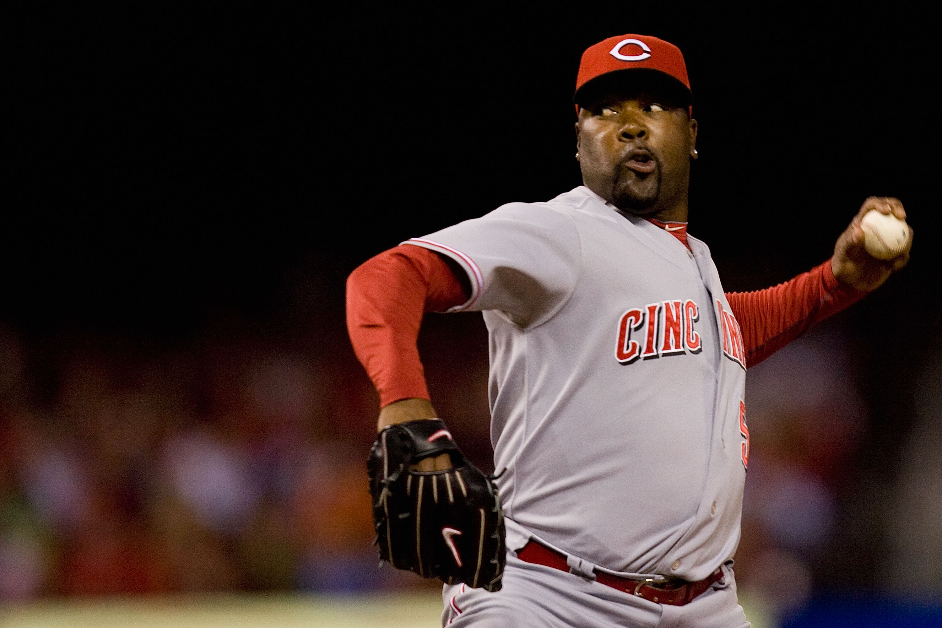 ST. LOUIS - SEPTEMBER 3: Reliever Arthur Rhodes #56 of the Cincinnati Reds pitches against the St. Louis Cardinals at Busch Stadium on September 3, 2010 in St. Louis, Missouri.  The Cardinals beat the Reds 3-2.  (Photo by Dilip Vishwanat/Getty Images)