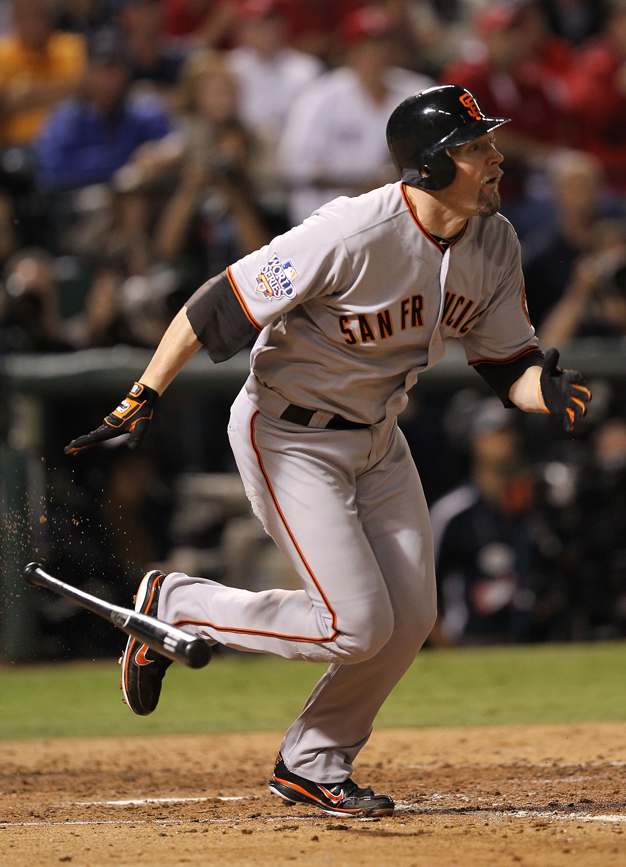 ARLINGTON, TX - NOVEMBER 01:  Aubrey Huff #17 of the San Francisco Giants  bats against the Texas Rangers in Game Five of the 2010 MLB World Series at Rangers Ballpark in Arlington on November 1, 2010 in Arlington, Texas.  (Photo by Ronald Martinez/Getty