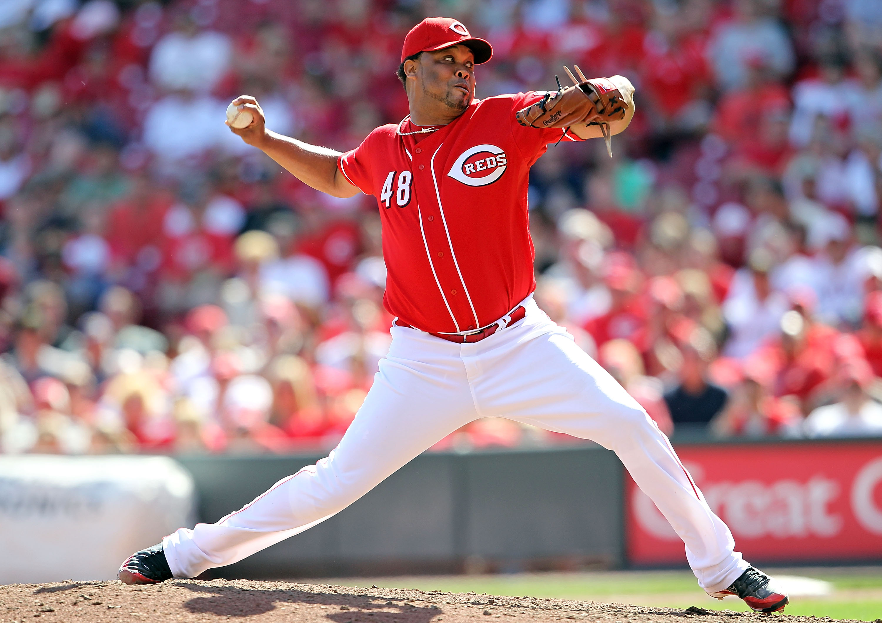 CINCINNATI - SEPTEMBER 12:  Francisco Cordero #48 of the Cincinnati Reds throws a pitch during the game against the Pittsburgh Pirates at Great American Ballpark on September 12, 2010 in Cincinnati, Ohio.  (Photo by Andy Lyons/Getty Images)