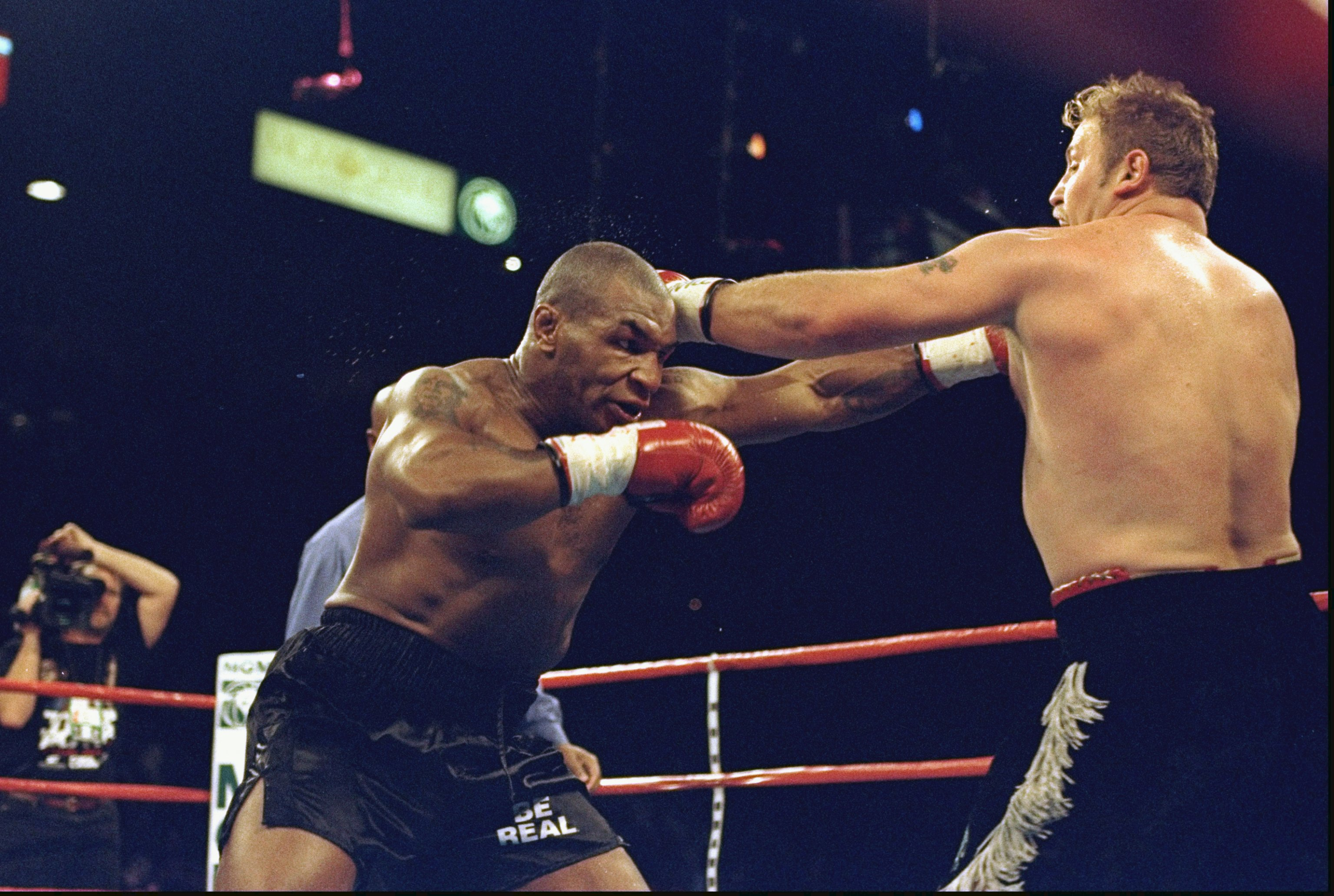 16 Jan 1999: Mike Tyson in action during his first fight against Francois Botha at the MGM Grand Garden Arena in Las Vegas, Nevada. Tyson defeated Botha by a counted out in the fifth round by the referee.