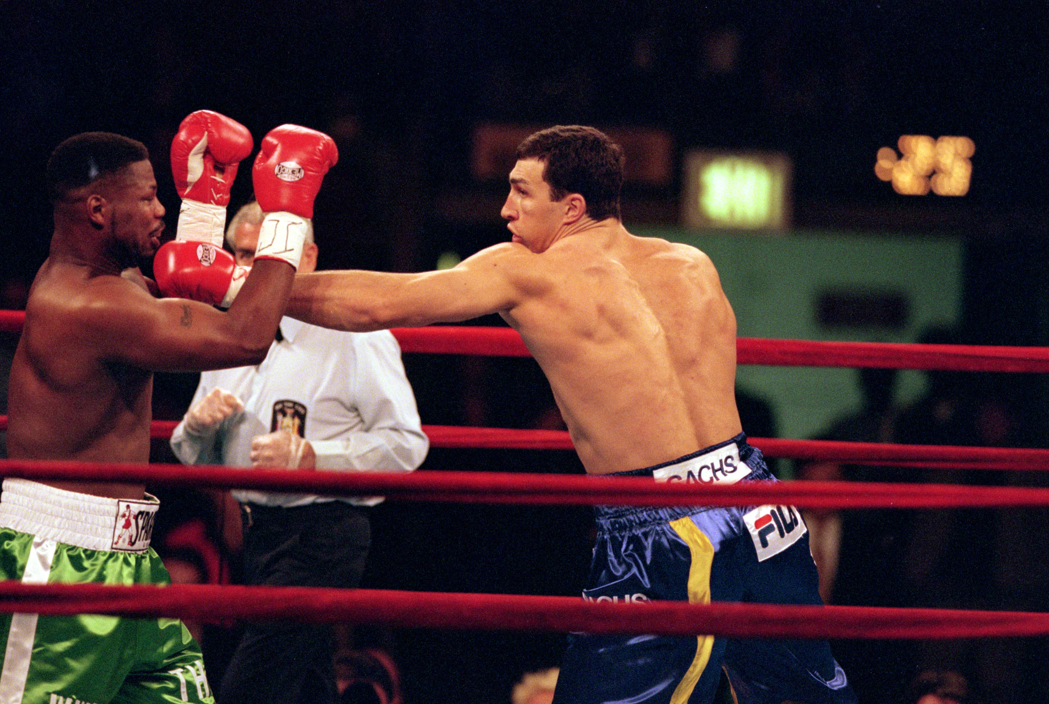 29 Apr 2000:  Wladimir Klitscho throws a left punch during the fight against David Bostice at Madison Square Garden, New York. Klitscho defeated Bostice in a knock out in the second round. Mandatory Credit: Ezra O. Shaw  /Allsport