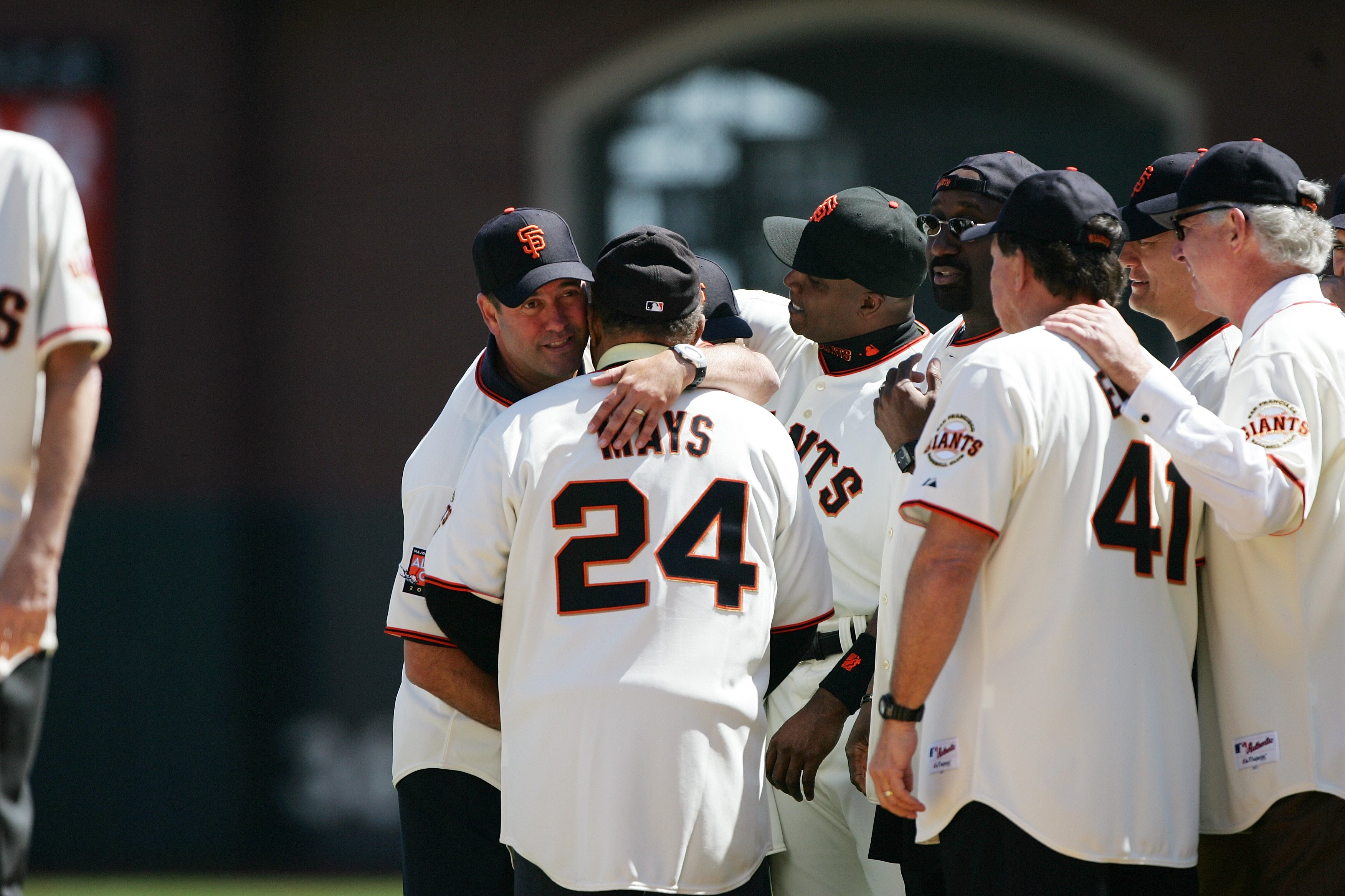 SAN FRANCISCO - APRIL 3:  Former San Francisco Giants player Will Clark greets Willie Mays during a pregame ceremony before the game against the San Diego Padres during Opening Day on April 3, 2007 at AT&T Park in San Francisco, California. The Padres won