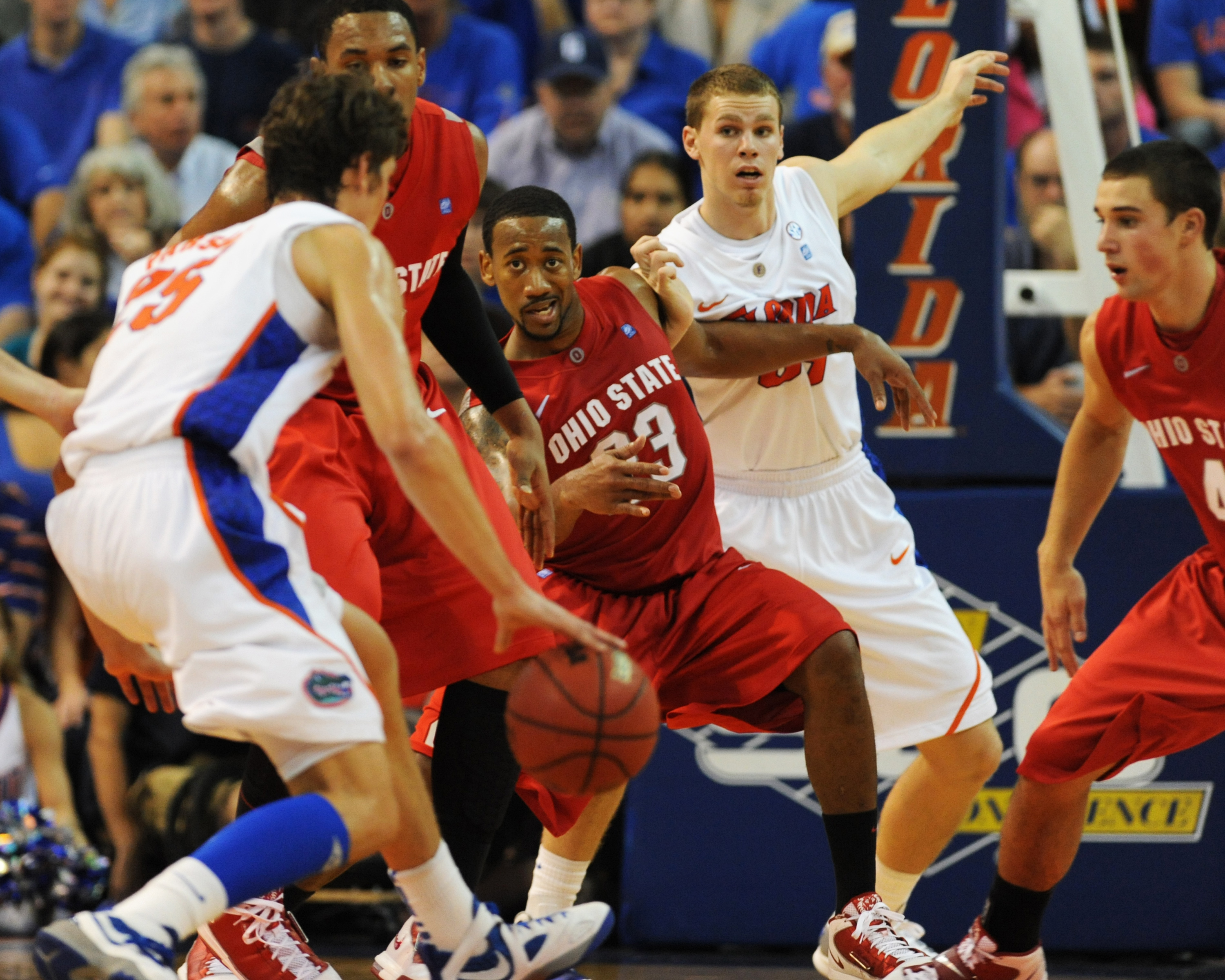 GAINESVILLE, FL - NOVEMBER 16: Guard David Lighty #23 of the Ohio State Buckeyes sets on defense against the Florida Gators November 16, 2010 at the Stephen C. O'Connell Center in Gainesville, Florida.  (Photo by Al Messerschmidt/Getty Images)