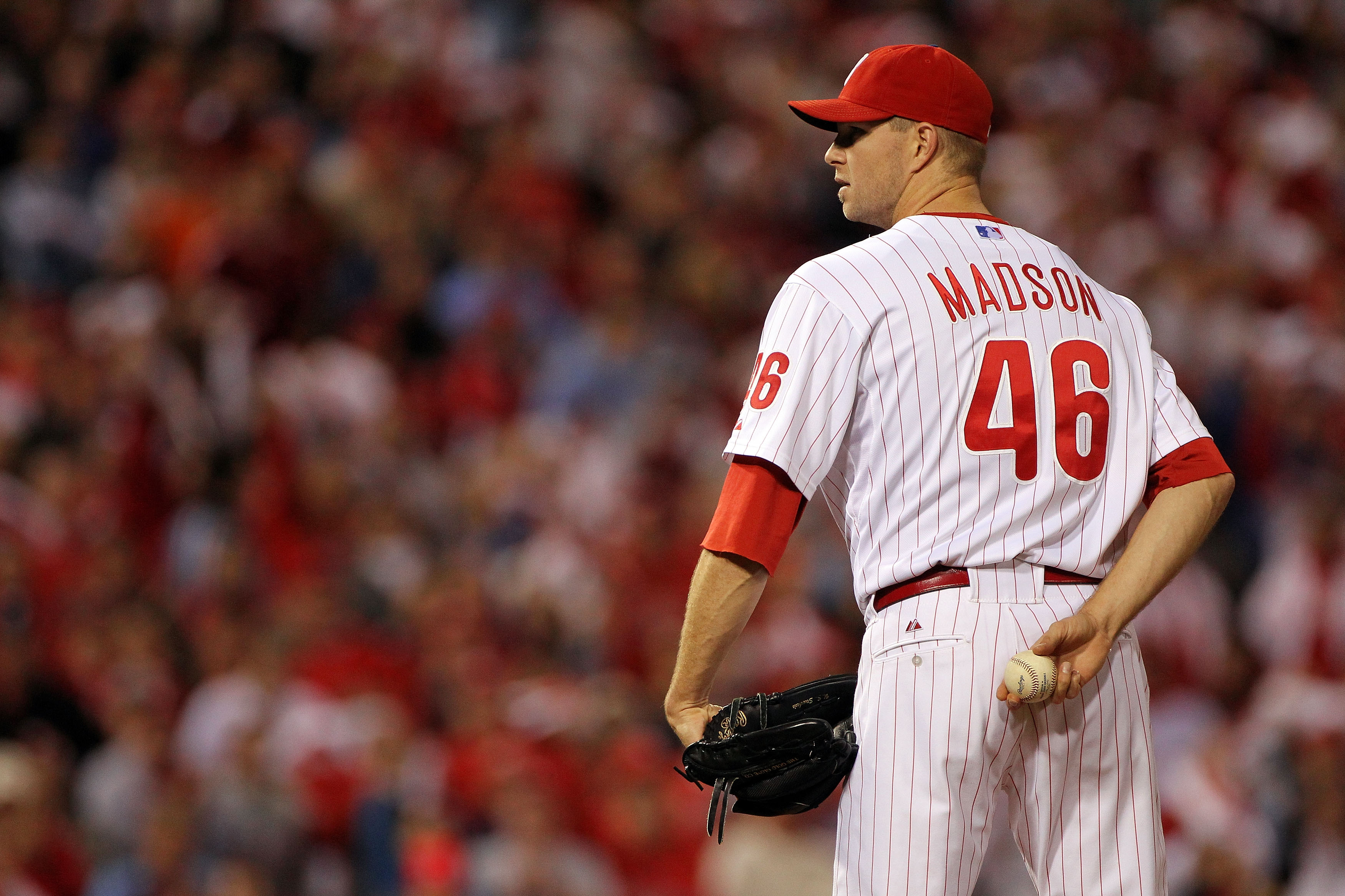 PHILADELPHIA - OCTOBER 23:  Ryan Madson #46 of the Philadelphia Phillies gets set against the San Francisco Giants in Game Six of the NLCS during the 2010 MLB Playoffs at Citizens Bank Park on October 23, 2010 in Philadelphia, Pennsylvania.  (Photo by Dou