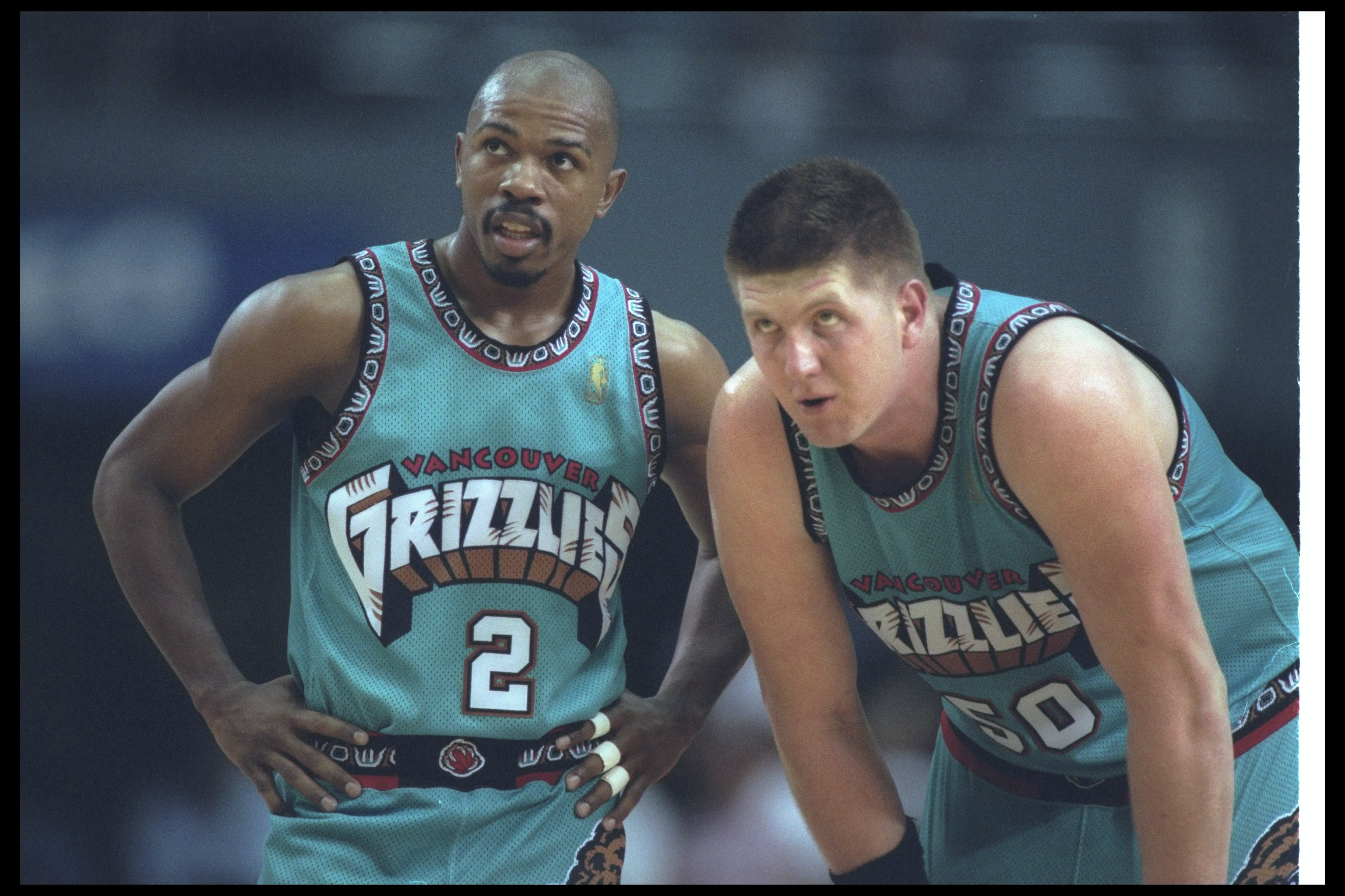 25 Mar 1997:  Vancouver Grizzlies guard Greg Anthony (left) and teammate center Bryant Reeves look on during a game against the Los Angeles Clippers at the Los Angeles Sports Arena in Los Angeles, California.  The Clippers won the game, 110-104. Mandatory