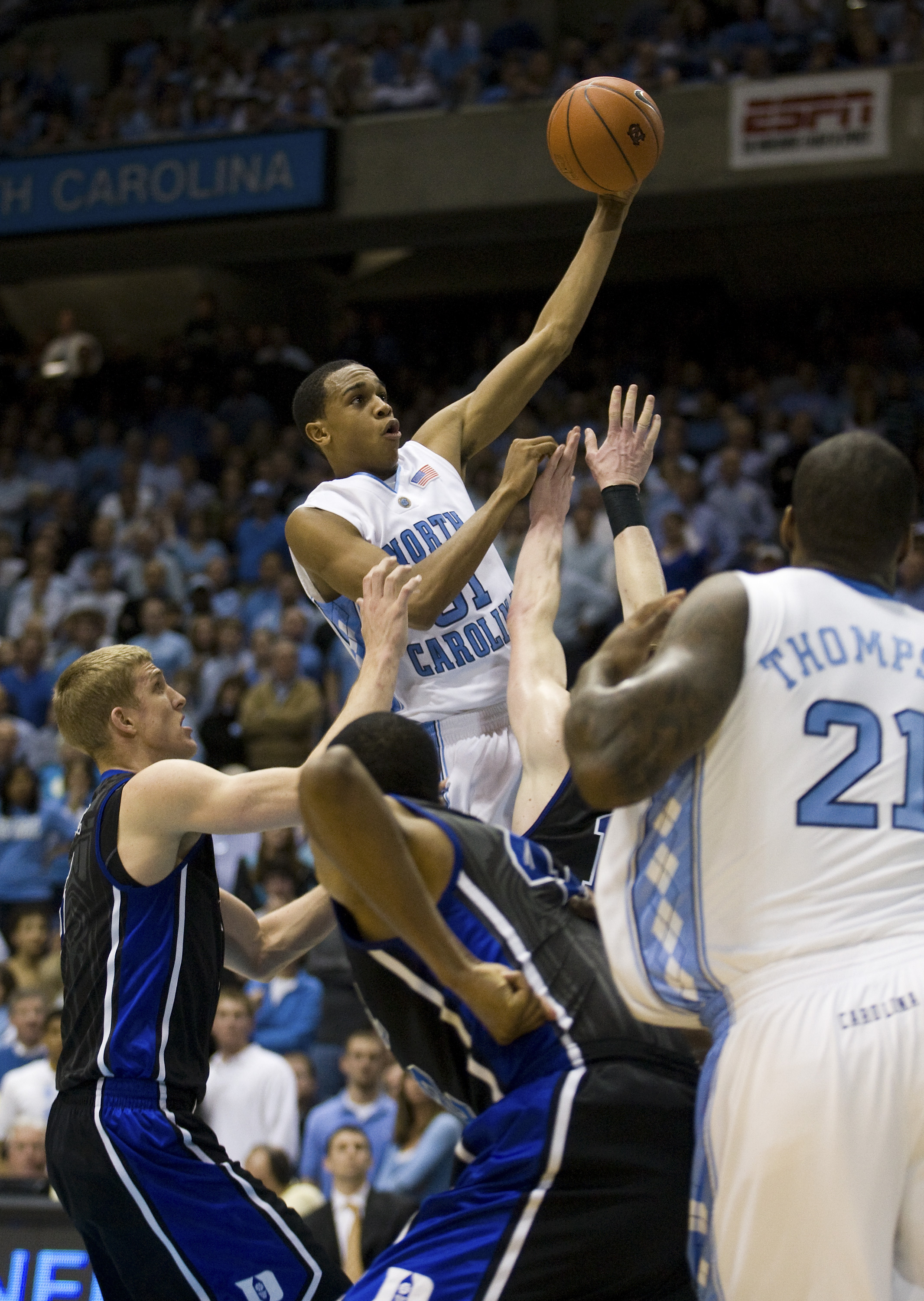 CHAPEL HILL, NC - FEBRUARY 10: North Carolina forward John Henson #31 puts up a shot against Duke during a men's college basketball game at Dean Smith Center on February 10, 2010 in Chapel Hill, North Carolina. (Photo by Chris Keane/Getty Images)