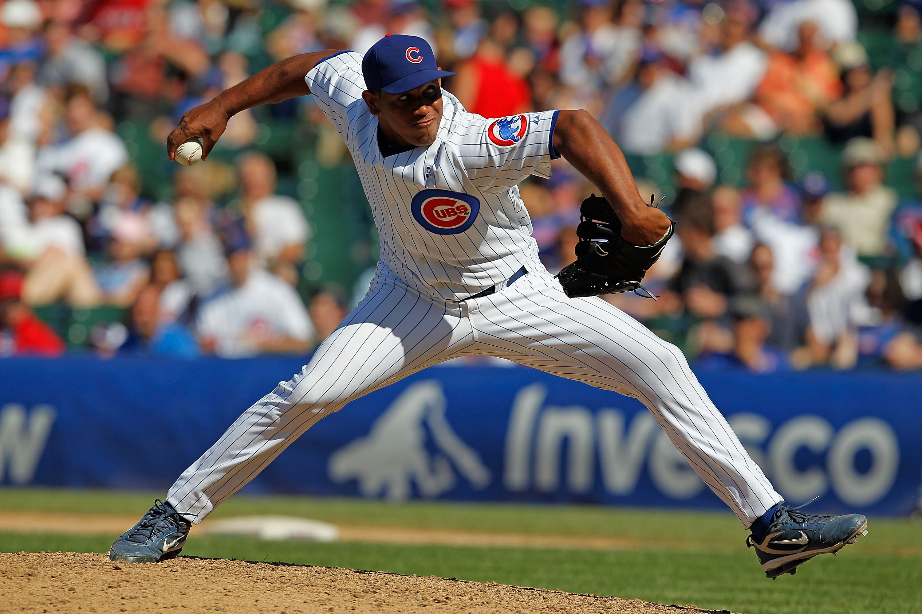 CHICAGO - JUNE 20: Carlos Marmol #49 of the Chicago Cubs pitches in the 9th inning against the Los Angeles Angels of Anaheim at Wrigley Field on June 20, 2010 in Chicago, Illinois. The Cubs defeated the Angels 12-1. (Photo by Jonathan Daniel/Getty Images)