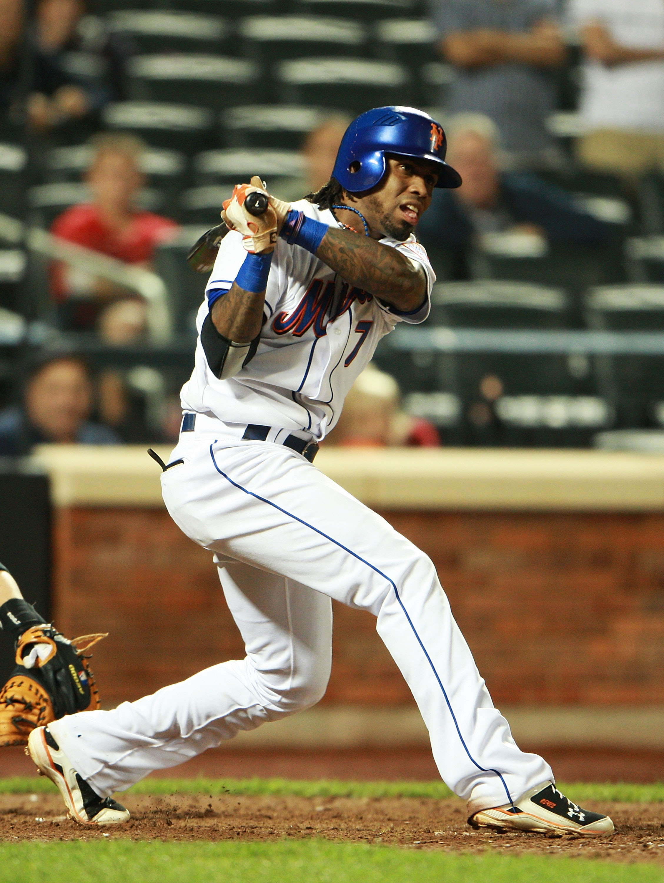 NEW YORK - AUGUST 25:  Jose Reyes #7 of the New York Mets ground out in the ninth inning against the Florida Marlins on August 25, 2010 at Citi Field in the Flushing neighborhood of the Queens borough of New York City.  (Photo by Andrew Burton/Getty Image