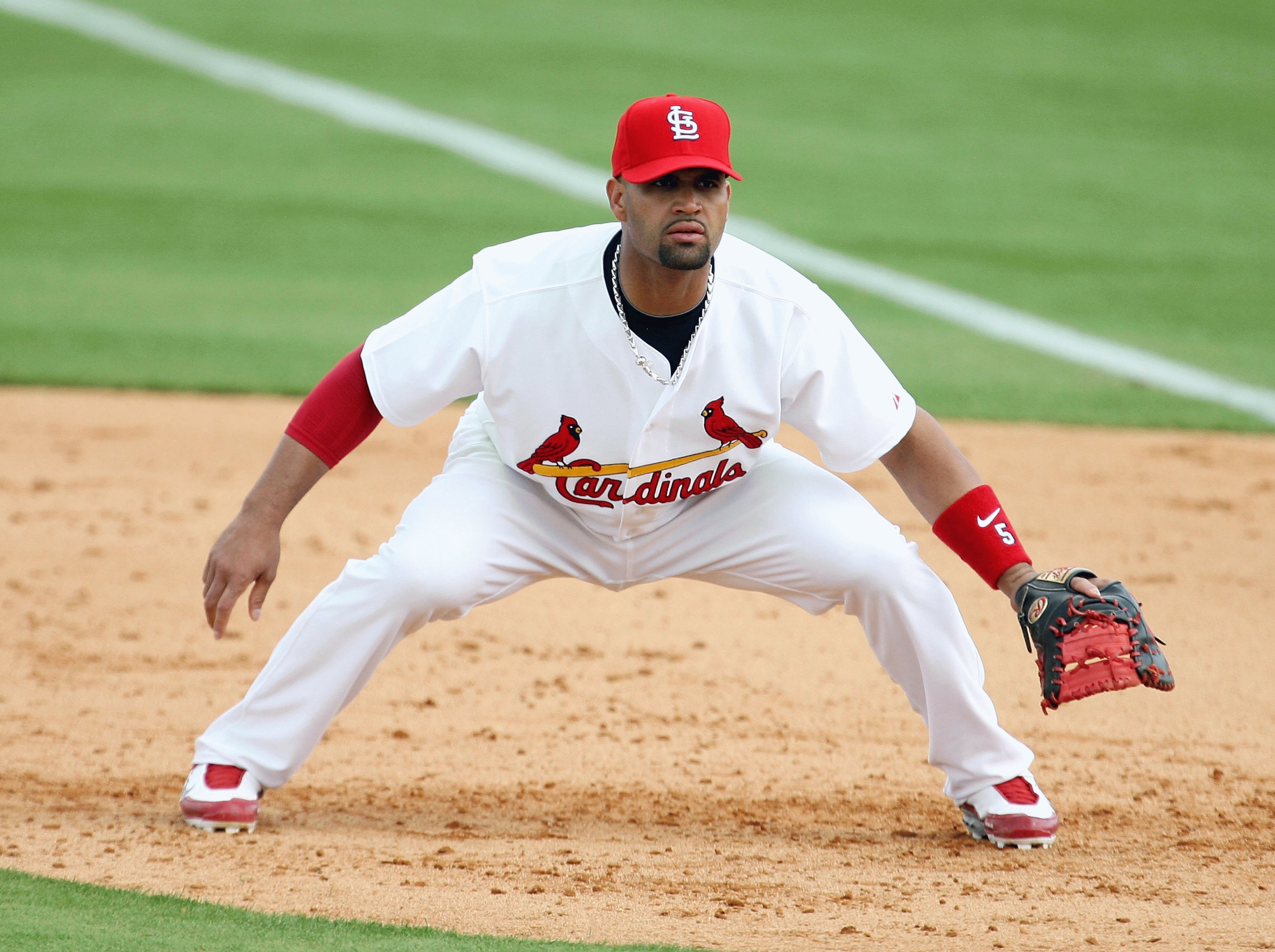 JUPITER, FL - FEBRUARY 25:  First baseman Albert Pujols #5 of the St. Louis Cardinals gets set against the Florida Marlins during a spring training game at Roger Dean Stadium on February 25, 2009 in Jupiter, Florida. The Marlins and the Mets played to a 5