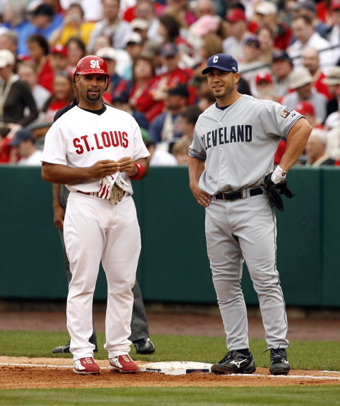MEMPHIS, TN - MARCH 31:  Travis Hafner #48 of the Cleveland Indians and Albert Pujols #5 of the St. Louis Cardinals during the Civil Rights Game on March 31, 2007 at AutoZone Park in Memphis, Tennessee.  (Photo by Joe Murphy/Getty Images)