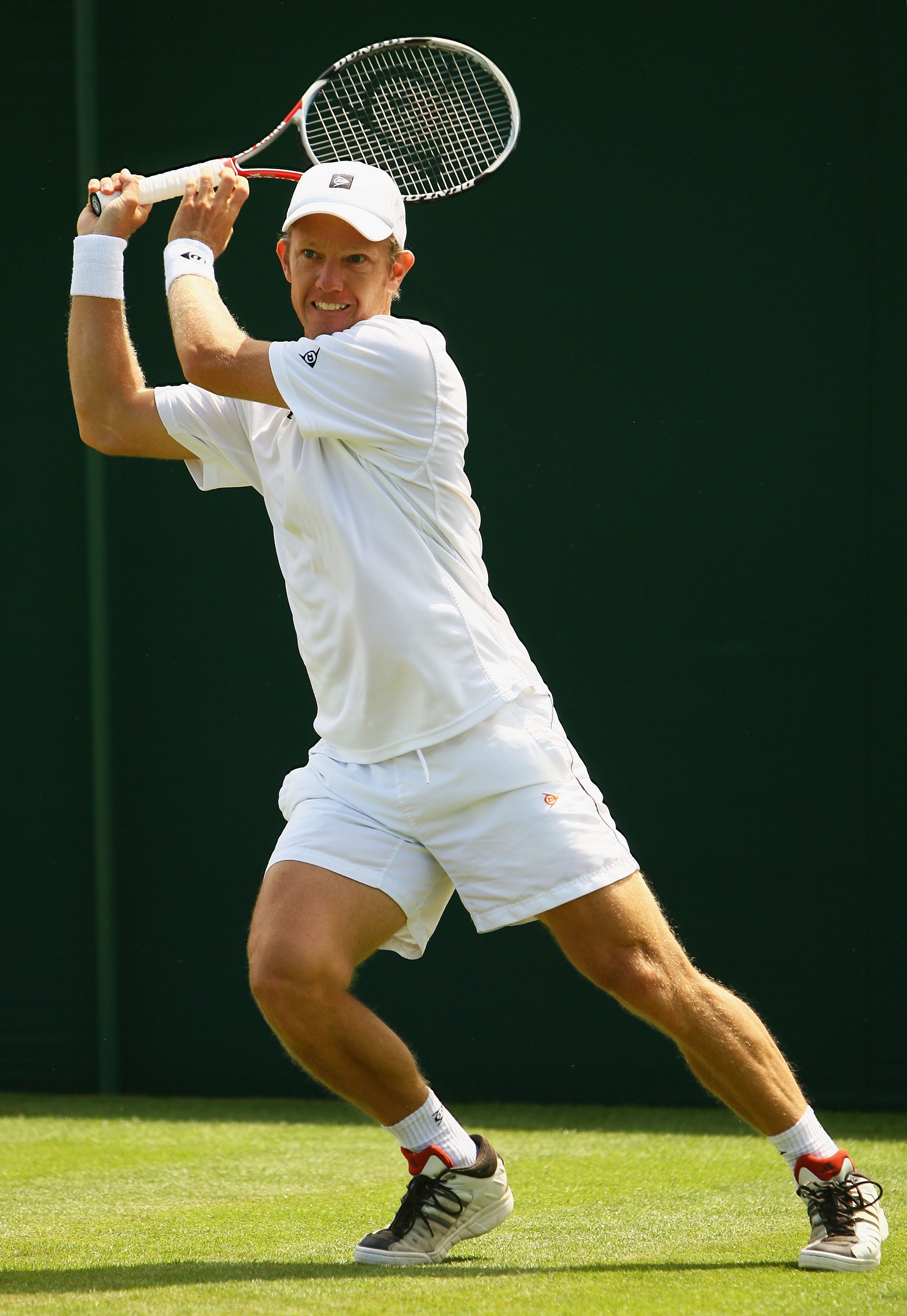 LONDON - JUNE 23:  Thomas Johansson of Sweden plays a forehand during the men's singles round one match against Vincent Spadea of United States on day one of the Wimbledon Lawn Tennis Championships at the All England Lawn Tennis and Croquet Club on June 2