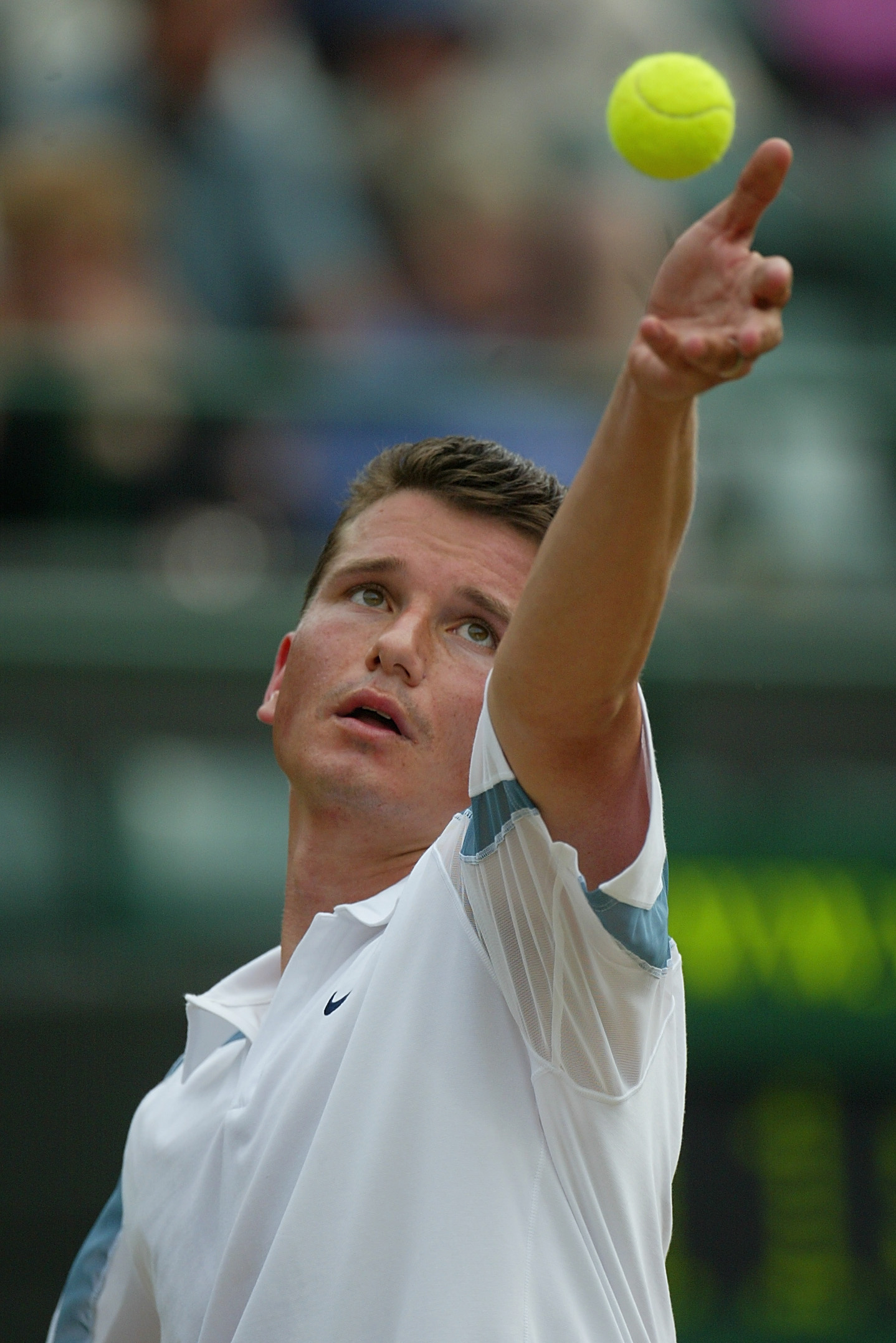 WIMBLEDON - July 4:  Richard Krajicek of the Netherlands in action against Xavier Malisse of Belgium during the mens quarter final match at the All England Tennis Championships at the All England Lawn Tennis Club, Wimbledon, England, on July 4, 2002. (Pho