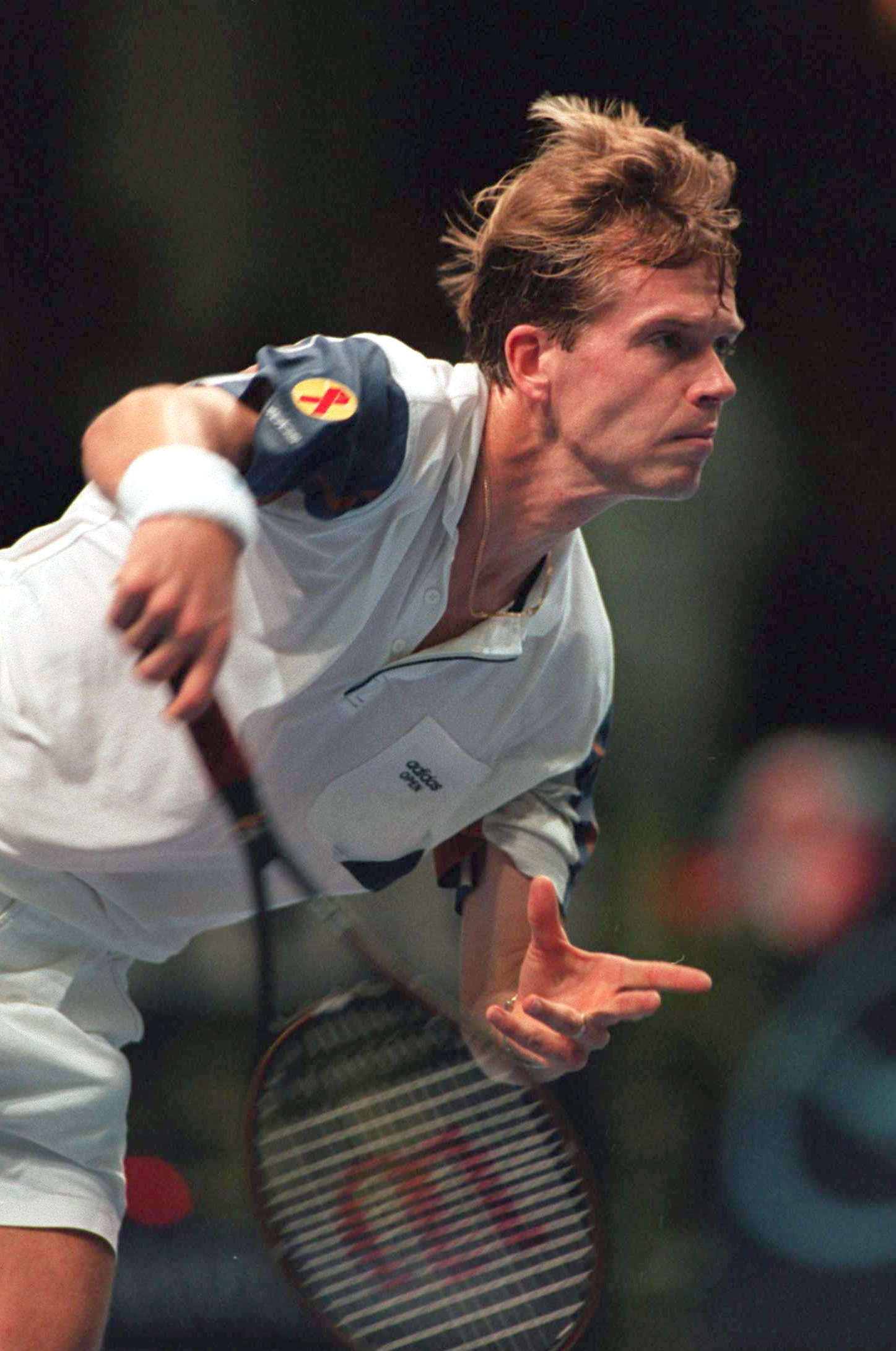 18 NOV 1994:  STEFAN EDBERG OF SWEDEN HITS ANOTHER BIG SERVE DURING HIS MATCH WITH BORIS BECKER OF GERMANY DURING THE ATP WORLD CHAMPIONSHIP IN FRANKFURT, GERMANY.  BECKER WON THE MATCH IN 3 SETS Mandatory Credit: Clive Brunskill/ALLSPORT