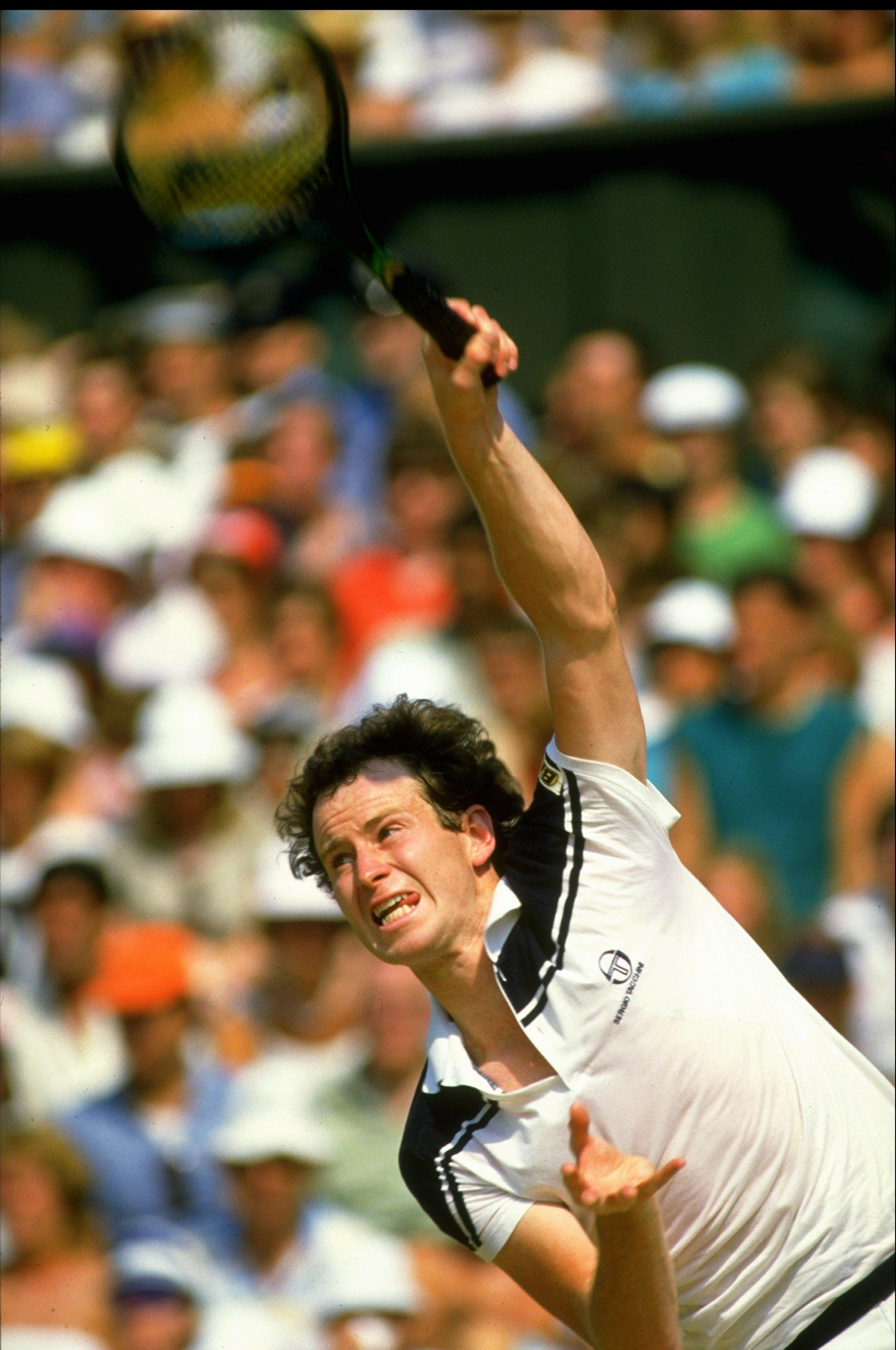 Jun-Jul 1984:  John McEnroe of the USA in action during the Lawn Tennis Championships at Wimbledon in London. \ Mandatory Credit: Allsport UK /Allsport