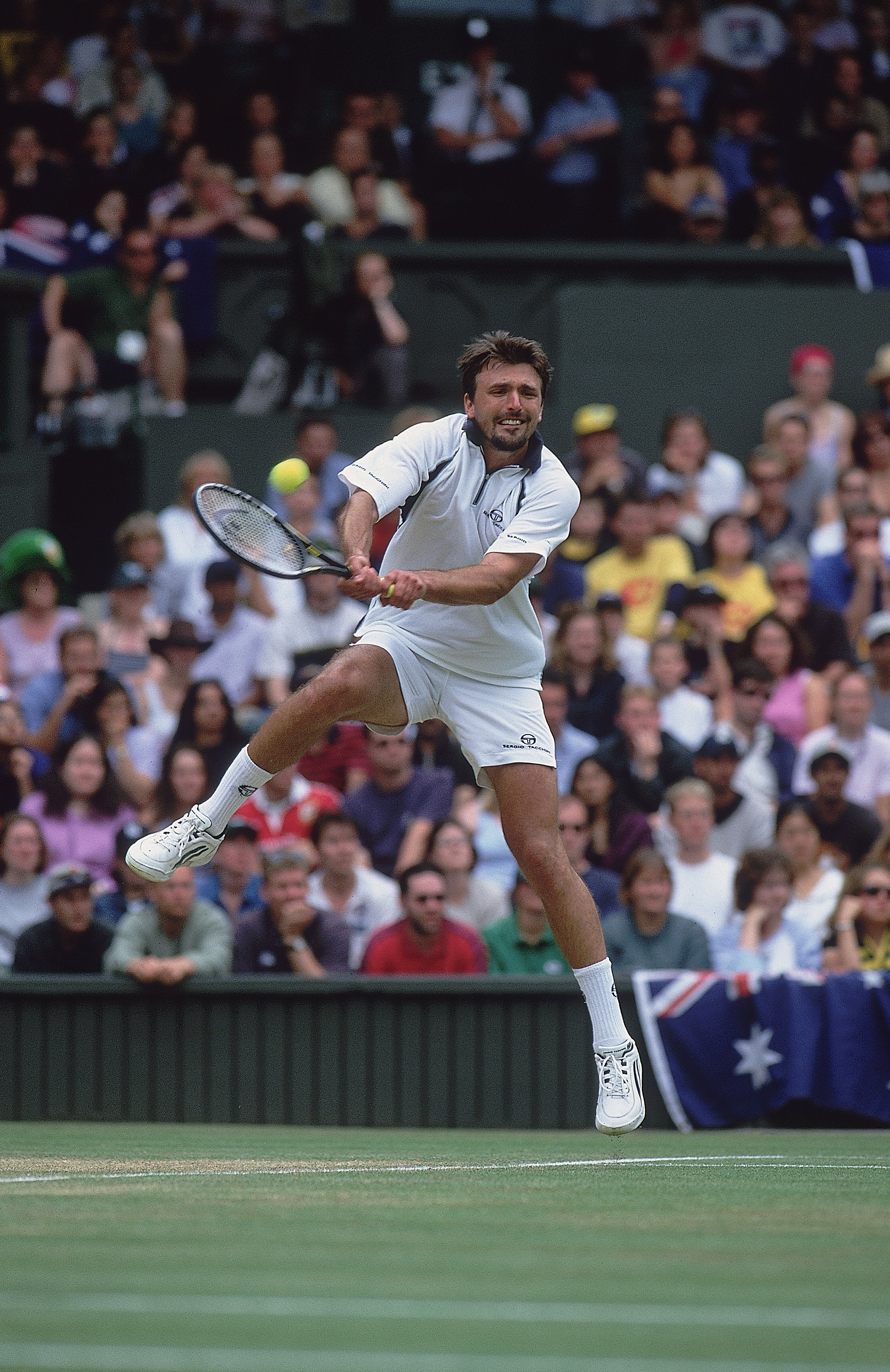 9 Jul 2001:  Goran Ivanisevic of Croatia in action during the men's final of the Wimbledon Lawn Tennis Championship held at the All England Lawn Tennis and Croquet Club, in Wimbledon, London. \ Mandatory Credit: Gary M Prior/Allsport