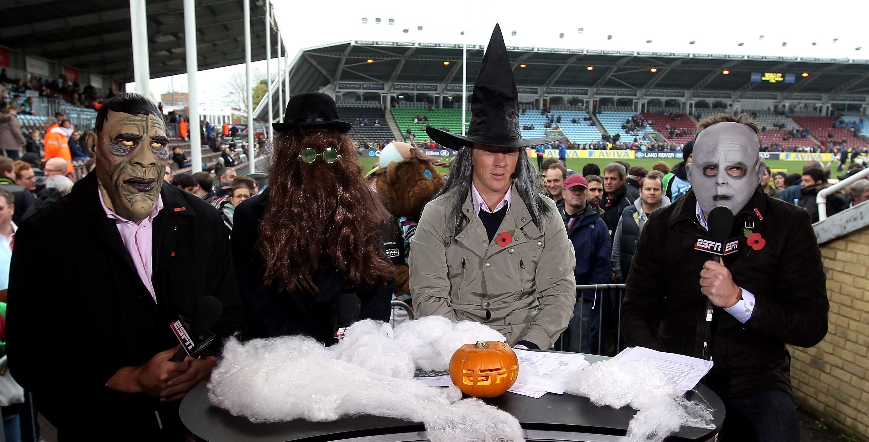 TWICKENHAM, ENGLAND - OCTOBER 31:  (L-R) Ben Kay, Austin Healey and Pete Richards all former England players now ESPN rugby pundits together with presenter Mark Durden-Smith dress up for Halloween during the Aviva Premiership match between Harlequins and