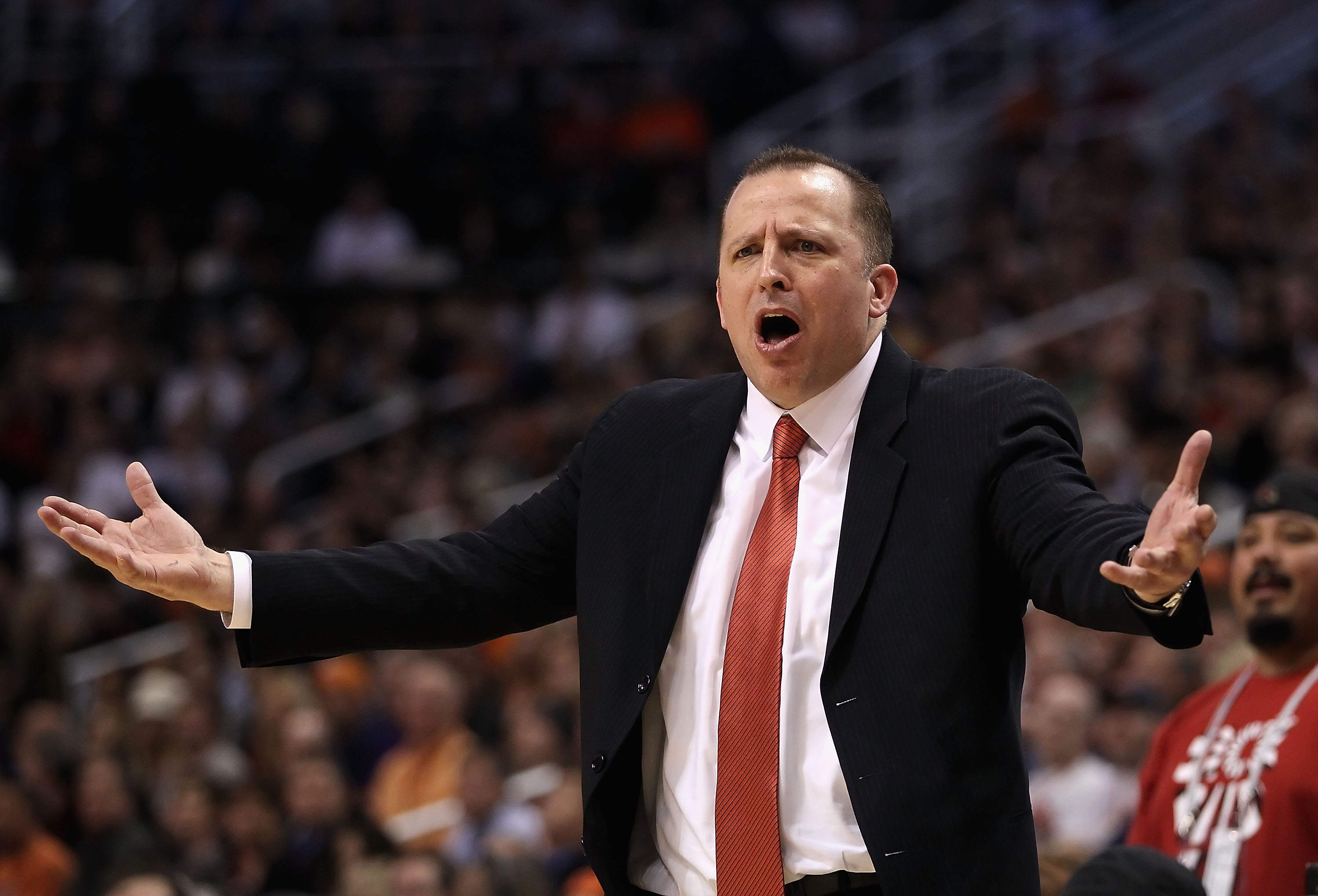 PHOENIX - NOVEMBER 24:  Head coach Tom Thibodeau of the Chicago Bulls reacts to a call during the NBA game against the Phoenix Suns at US Airways Center on November 24, 2010 in Phoenix, Arizona. The Bulls defeated the Suns 123-115 in double overtime.  NOT