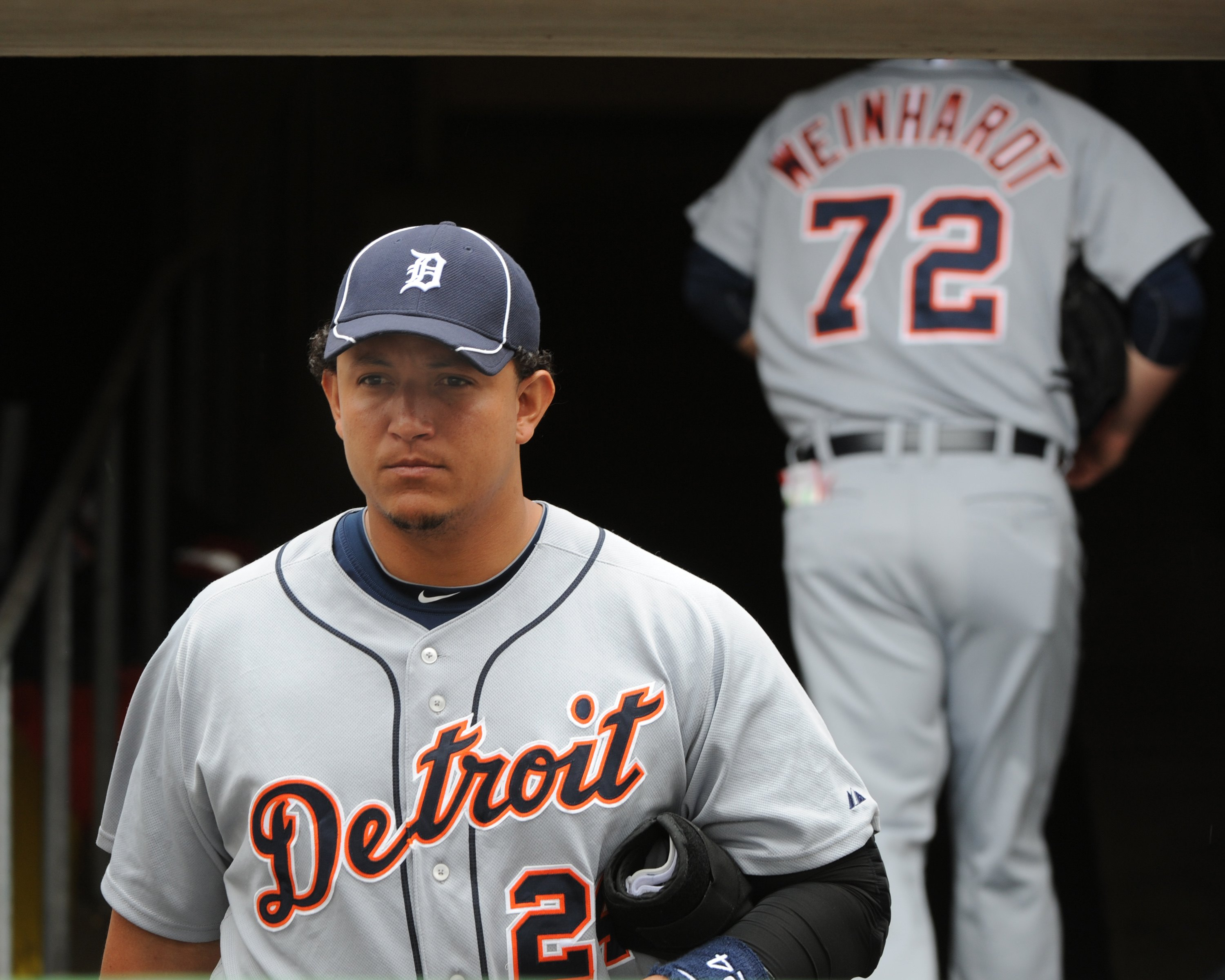 CLEARWATER, FL - MARCH 11: Infielder Miguel Cabrera #24 of the Detroit Tigers takes the field before play against the Philadelphia Phillies March 11, 2010 at the Bright House Field in Clearwater, Florida. (Photo by Al Messerschmidt/Getty Images)