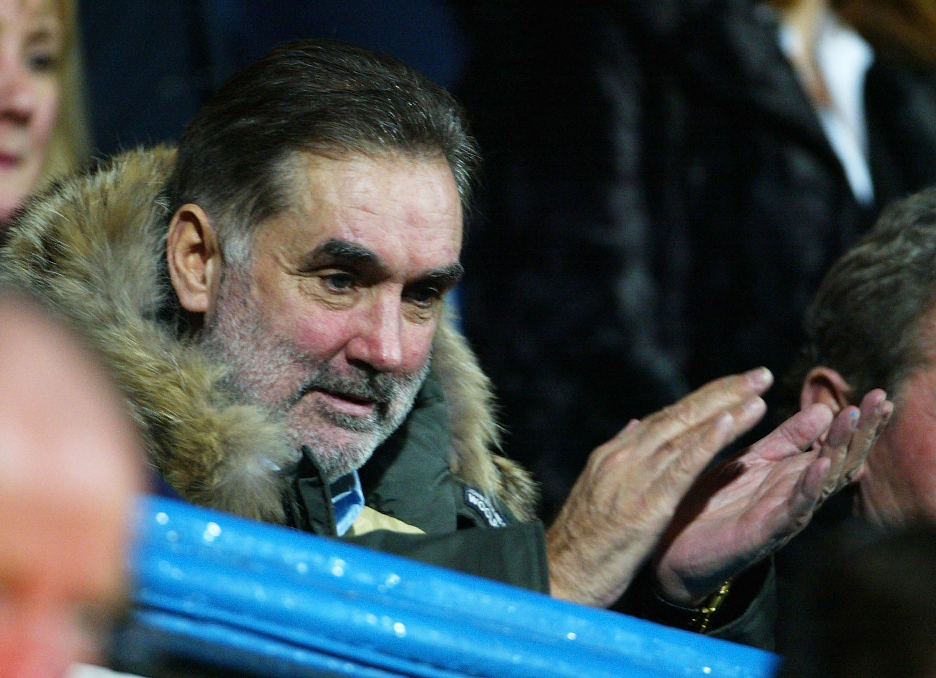PORTSMOUTH, ENGLAND - FEBRUARY 11:  Ex-football player George Best watches the game during the FA Barclaycard Premiership match between Portsmouth and Chelsea at Fratton Park on February 11, 2004 in Portsmouth, England.  (Photo by Phil Cole/Getty Images)