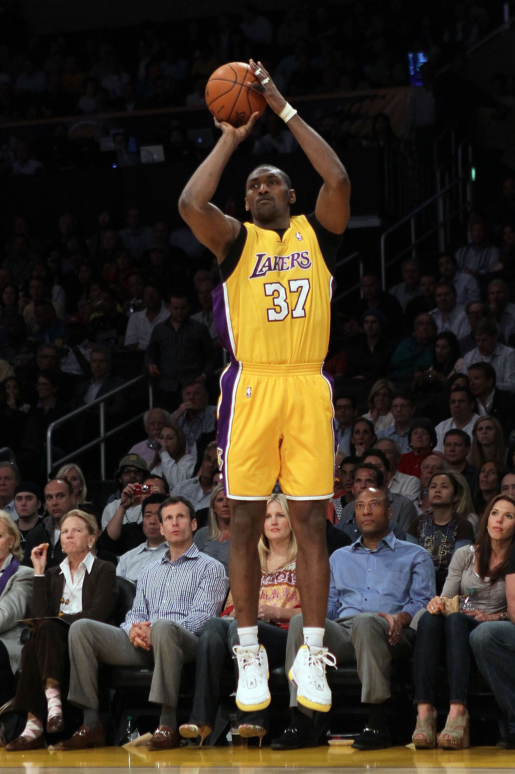LOS ANGELES, CA - MAY 04:  Ron Artest #37 of the Los Angeles Lakers shoots a three-pointer while taking on the Utah Jazz during Game Two of the Western Conference Semifinals of the 2010 NBA Playoffs at Staples Center on May 4, 2010 in Los Angeles, Califor
