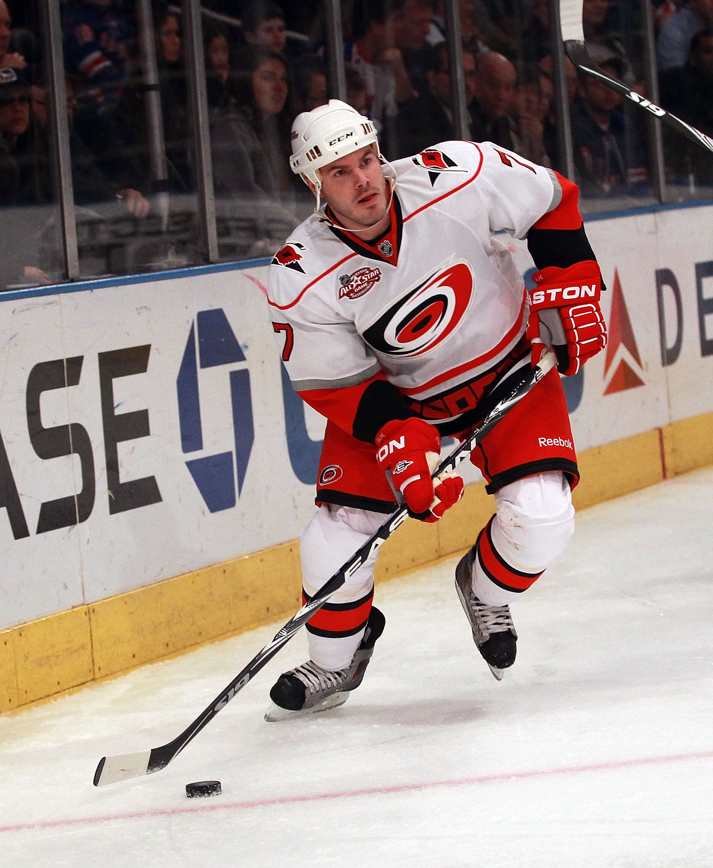 NEW YORK, NY - JANUARY 05: Ian White #7 of the Carolina Hurricanes skates against the New York Rangers at Madison Square Garden on January 5, 2011 in New York City. The Rangers defeated the Hurricanes 2-1 in overtime.  (Photo by Bruce Bennett/Getty Images