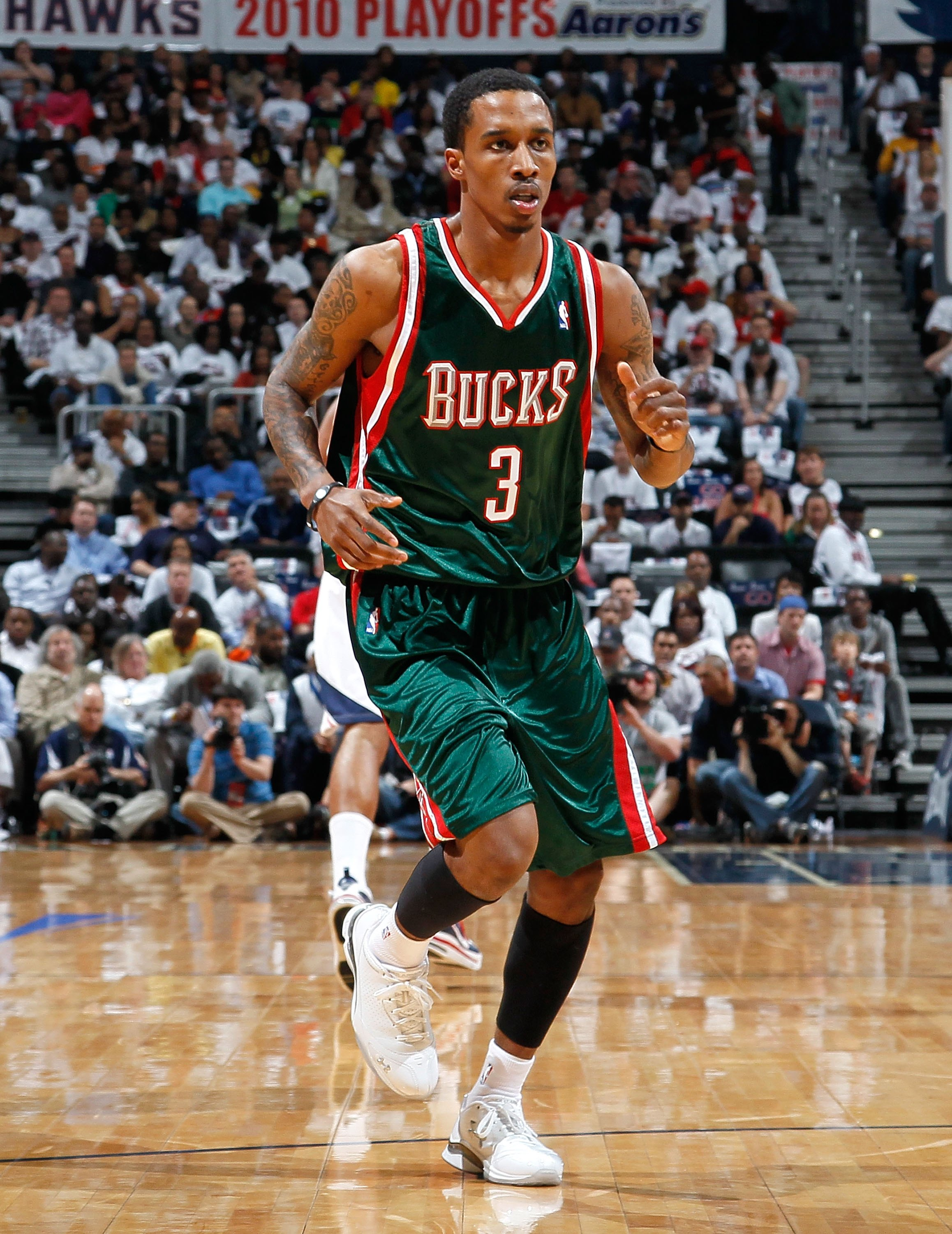 ATLANTA - APRIL 28:  Brandon Jennings #3 of the Milwaukee Bucks against the Atlanta Hawks during Game Five of the Eastern Conference Quarterfinals of the 2010 NBA Playoffs at Philips Arena on April 28, 2010 in Atlanta, Georgia.  NOTE TO USER: User express