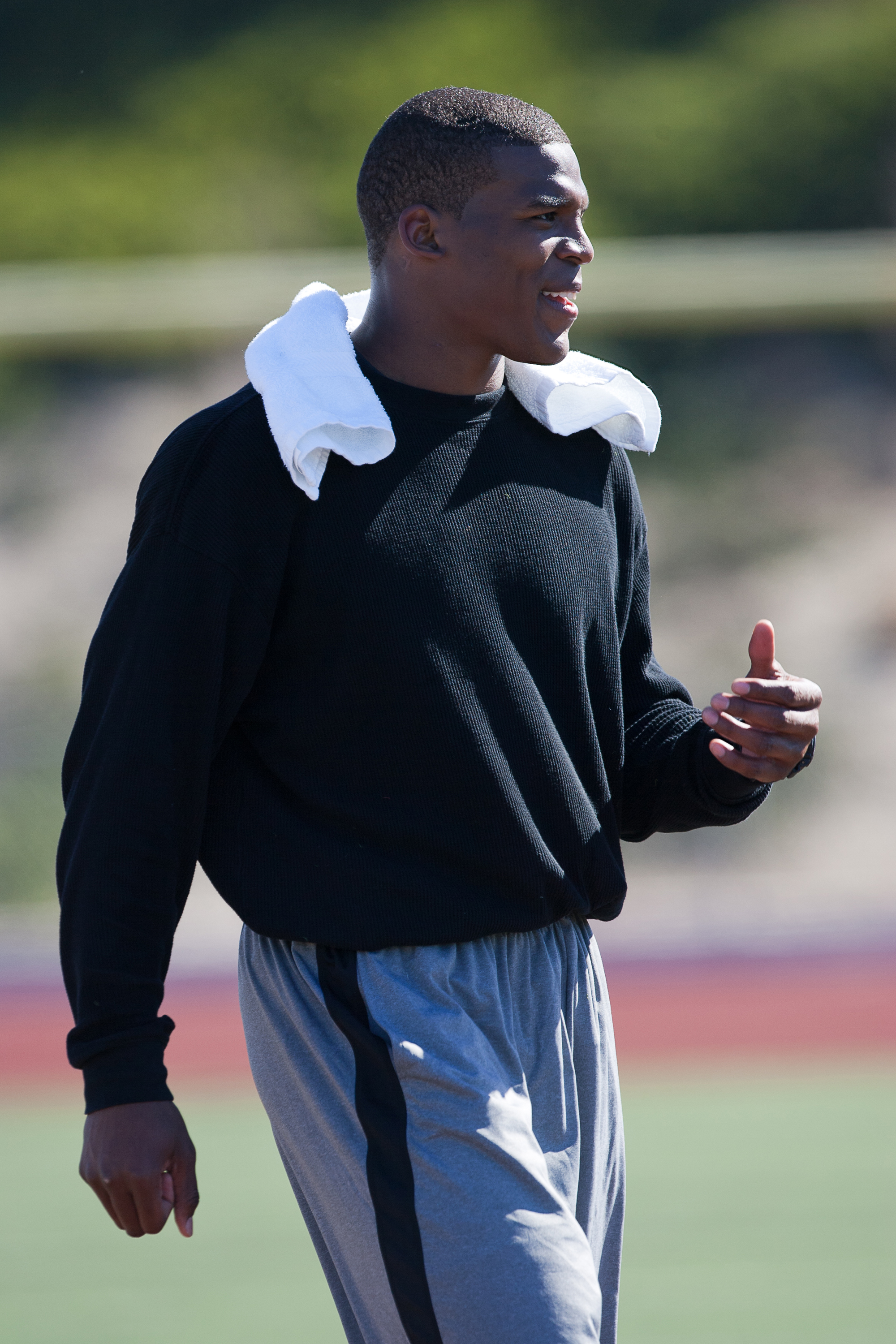 SAN DIEGO, CA - FEBRUARY 10: 2010 Heisman Trophy winning quarterback Cam Newton of Auburn walks off the fiels after his workout routine for the media at Cathedral High School's sports stadium on February 10, 2011 in San Diego, California. (Photo by Kent H